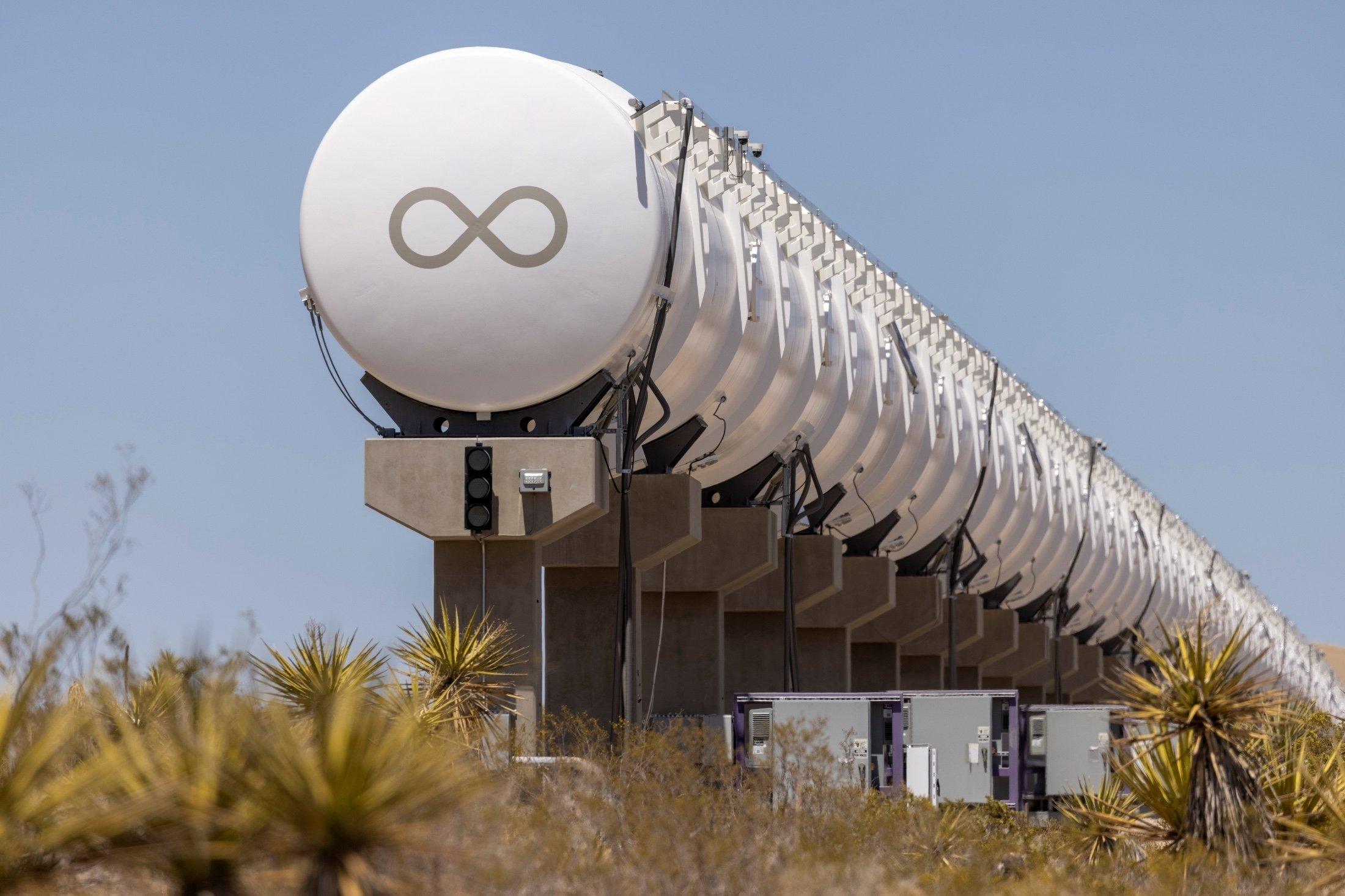 A test hyperloop tube is seeng at the Virgin Hyperloop facility near Las Vegas, Nevada, U.S., May 5, 2021. (Reuters Photo)
