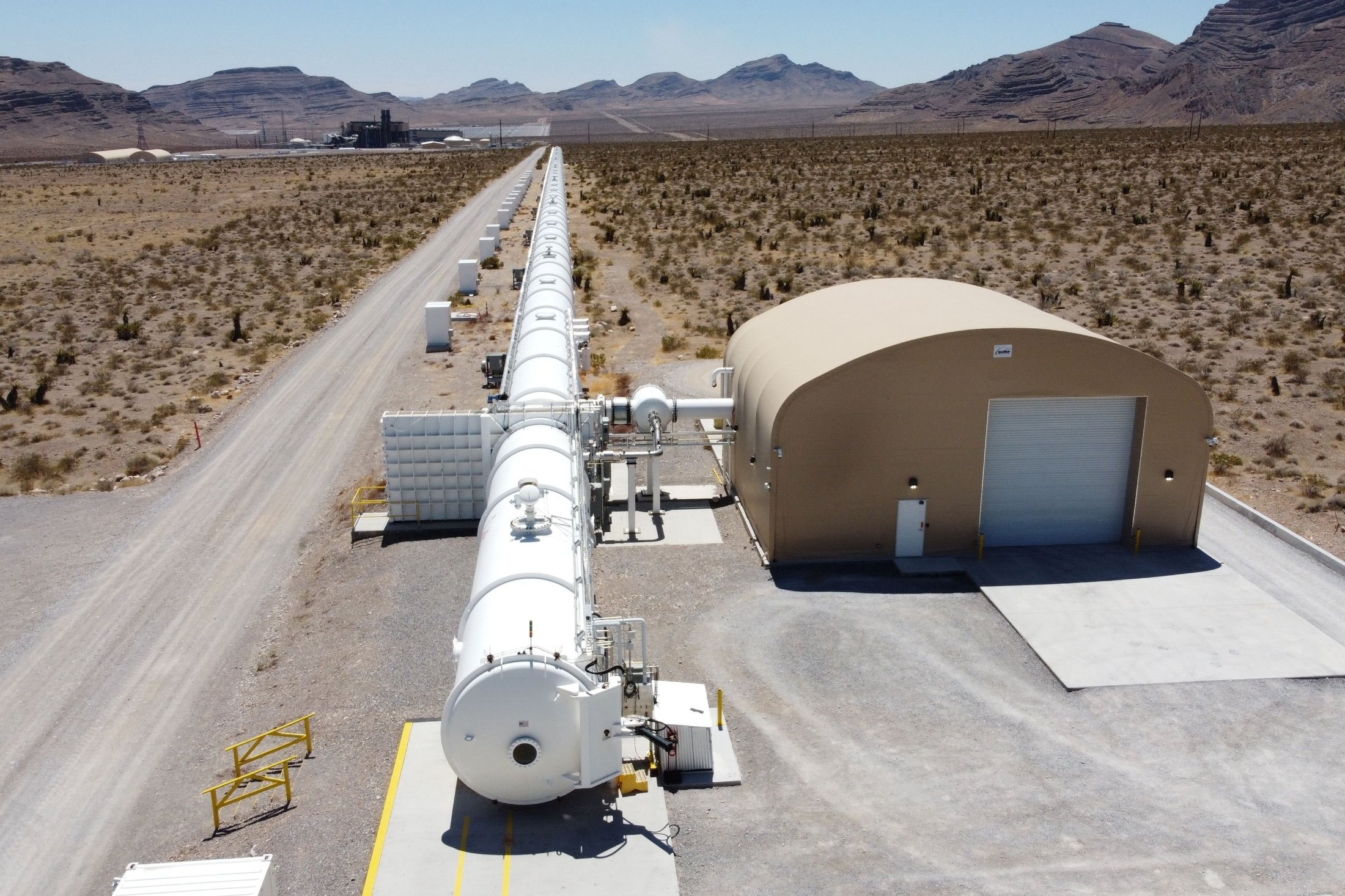 A test hyperloop tube is seen at the Virgin Hyperloop facility near Las Vegas, Nevada, U.S., May 5, 2021. (Reuters Photo)