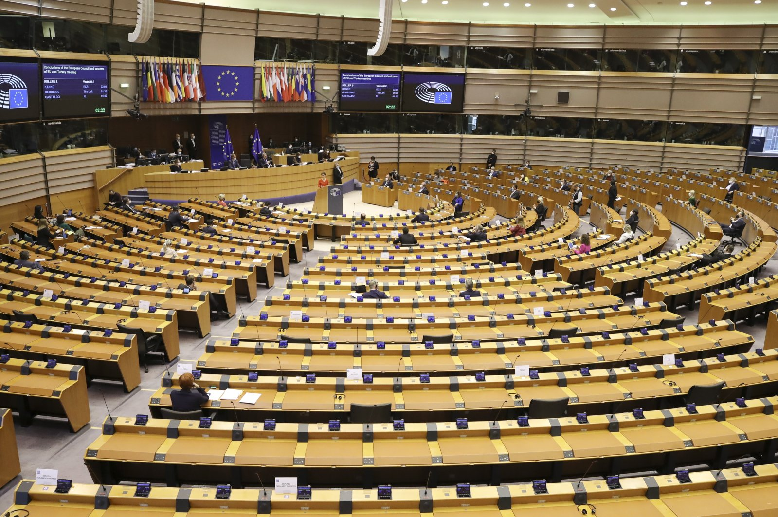 A general view of the European Parliament during the first day of a plenary session in Brussels, Belgium, April 26, 2021. (EPA Photo)