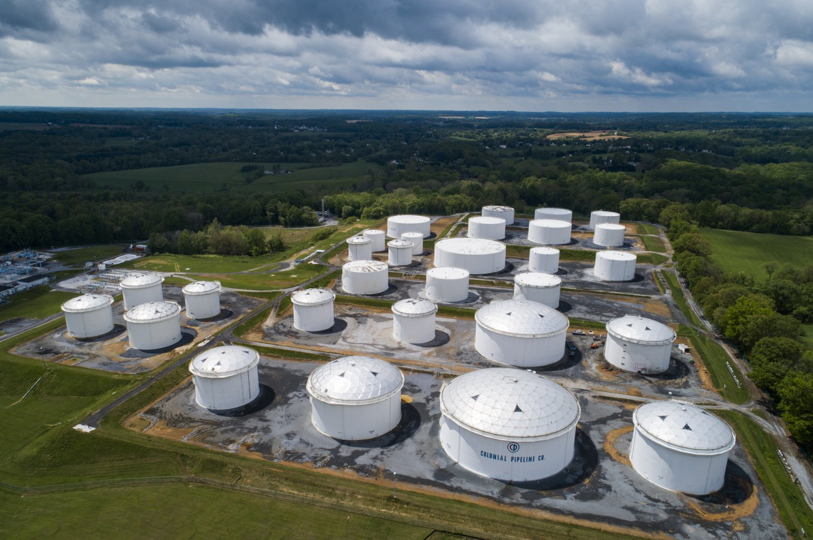 Fuel tanks at a Colonial Pipeline breakout station in Woodbine, Maryland, U.S., May 8, 2021. (EPA Photo)