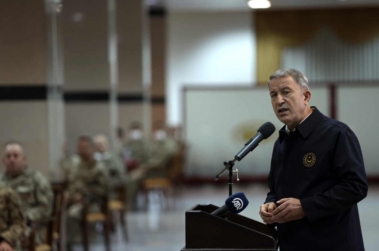 Defense Minister Hulusi Akar visited the special forces command together with high-level military officials in Ankara, Turkey, May 8, 2021 (AA Photo)