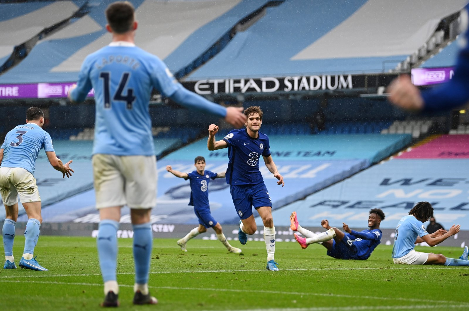 Chelsea's Marcos Alonso celebrates scoring a goal against Manchester City at the Etihad Stadium, Manchester, Britain, May 8, 2021.