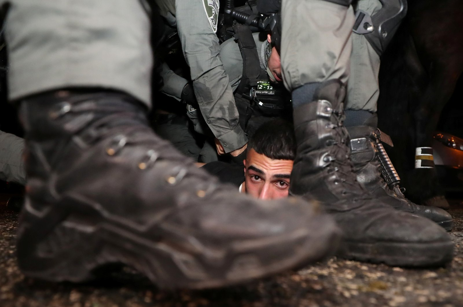 Israeli police detain a Palestinian amid ongoing tension and Israel's forced expulsion of Palestinians living in the Sheikh Jarrah neighbourhood of East Jerusalem, Palestine, May 5, 2021. (Reuters Photo)