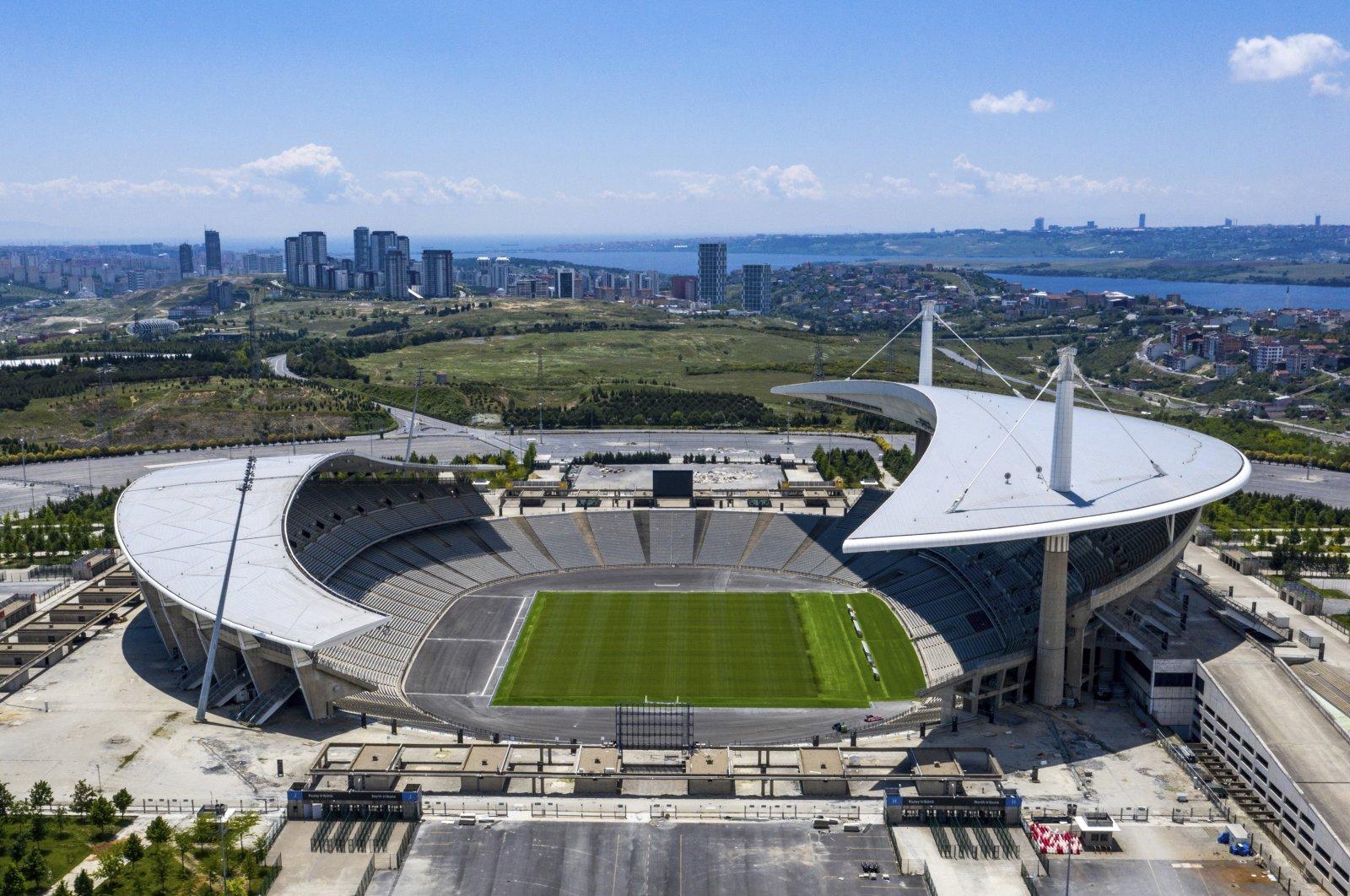 An aerial view of Atatürk Olympic Stadium, Istanbul, Turkey, May 30, 2020. (AP Photo)