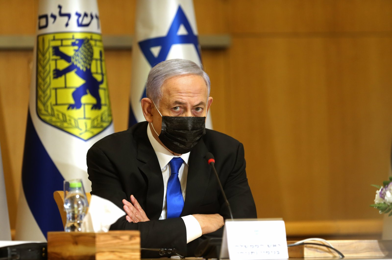 Israeli Prime Minister Benjamin Netanyahu attends a special Cabinet meeting on the occasion of Jerusalem Day, at the Jerusalem Municipality building, in Jerusalem, Sunday, May 9, 2021.  (AP Photo)