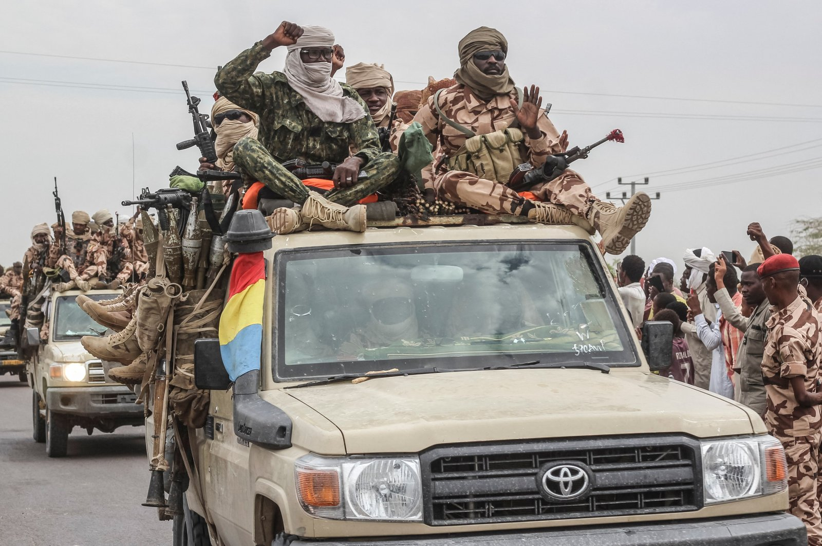Chadian soldiers celebrate as they return from battle, D'Jamena, Chad, May 9, 2021. (AFP Photo)