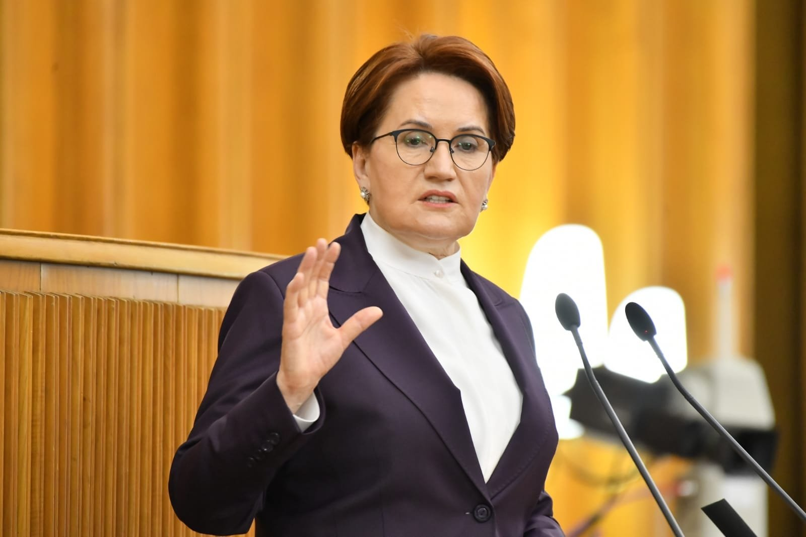 Good Party (IP) Chairperson Meral Akşener speaks at Parliament in Ankara, Turkey, April 28, 2021. (DHA Photo)