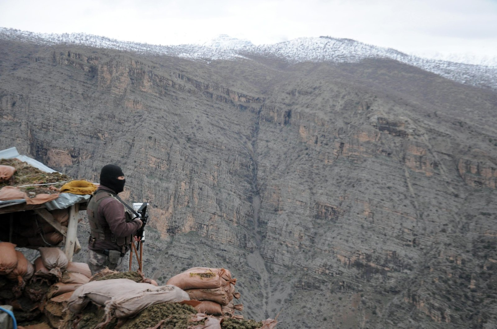 A Turkish soldier stands on guard at a base in Çukurca, Hakkari, Turkey. (AA File Photo)
