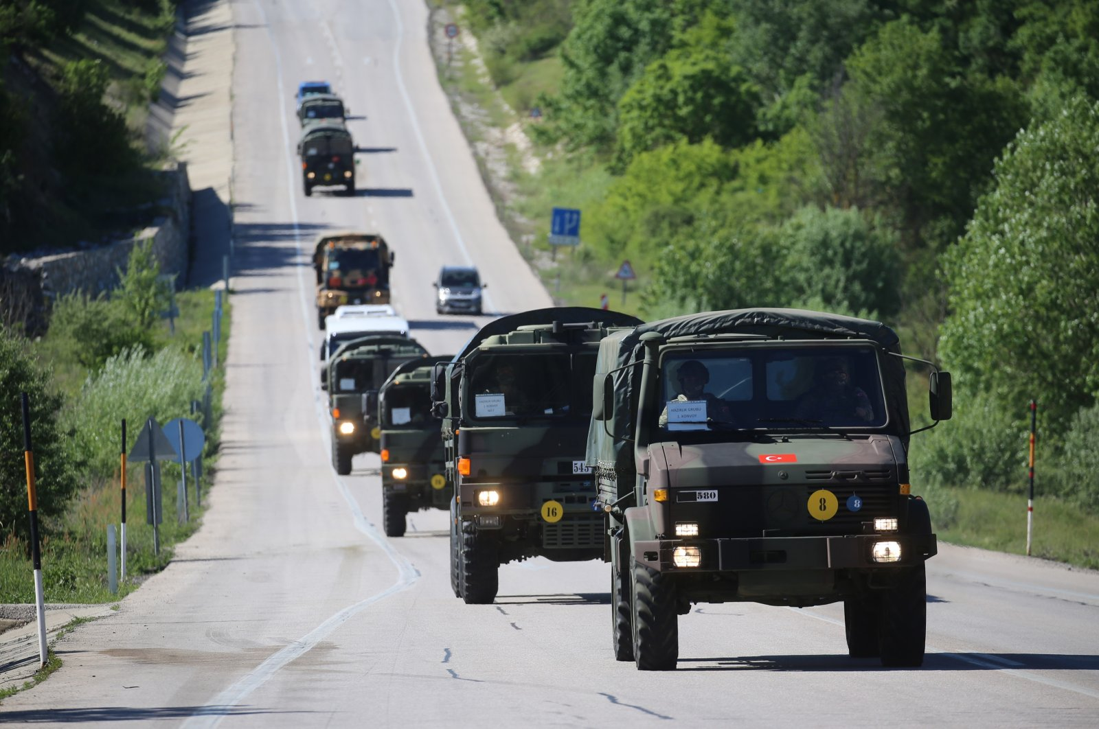 Turkish military convoy heads to Romania to participate in NATO exercise on May 10, 2021. (AA Photo)