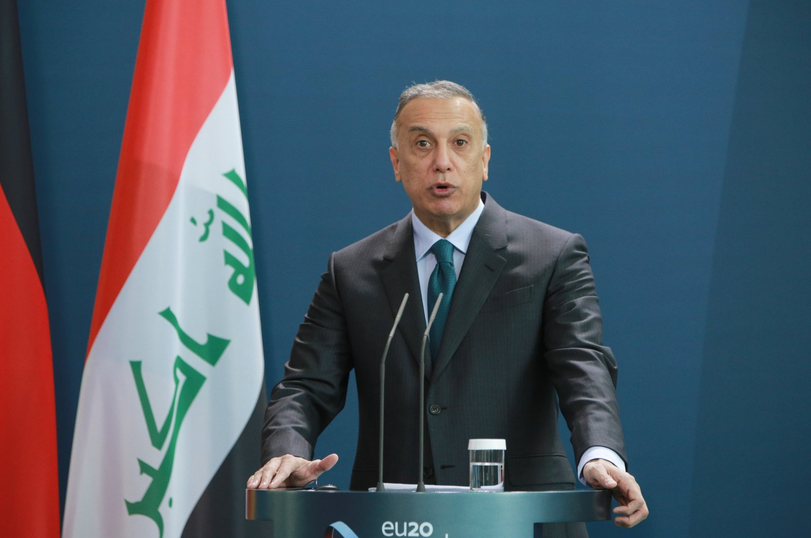Iraqi Prime Minister Mustafa al-Kadhimi speaks to the media during a press conference with German Chancellor Angela Merkel at the Chancellery in Berlin, Germany, Oct. 20, 2020. (Getty Images)