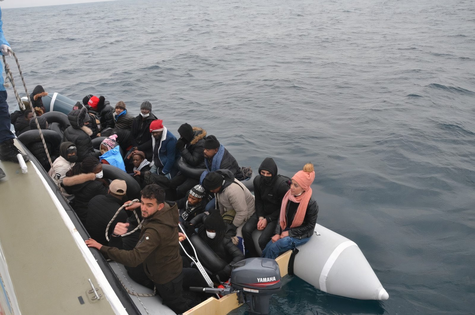 31 irregular migrants pushed back by Greek forces being rescued in western Balıkesir province's Ayvalık district, Turkey, Feb. 26, 2021 (DHA Photo)