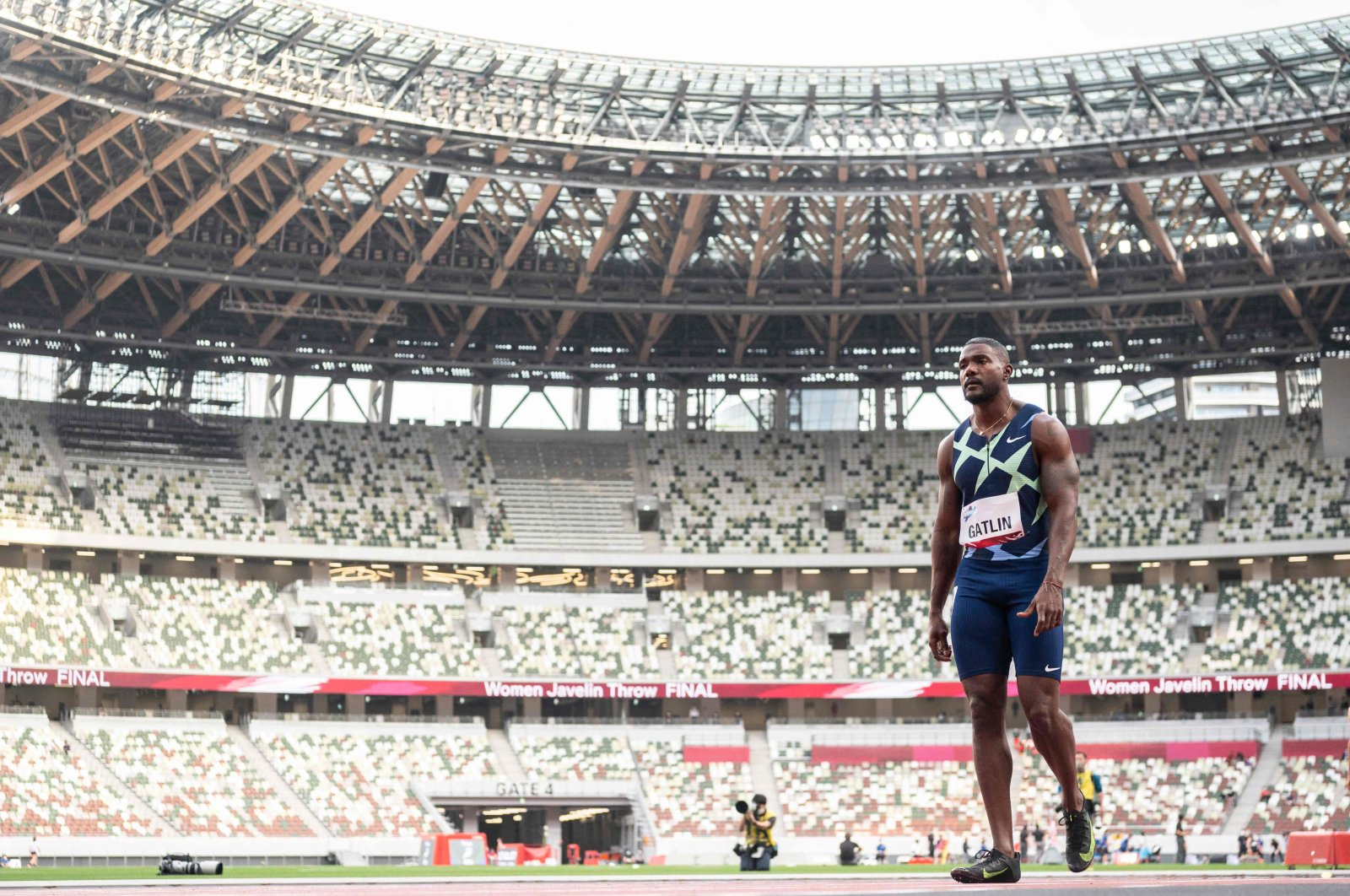 U.S. athlete Justin Gatlin prepares to compete in a heat of the men's 100-meter during an athletics test event for the 2020 Tokyo Olympics at the National Stadium, Tokyo, Japan, May 9, 2021. (AFP Photo)