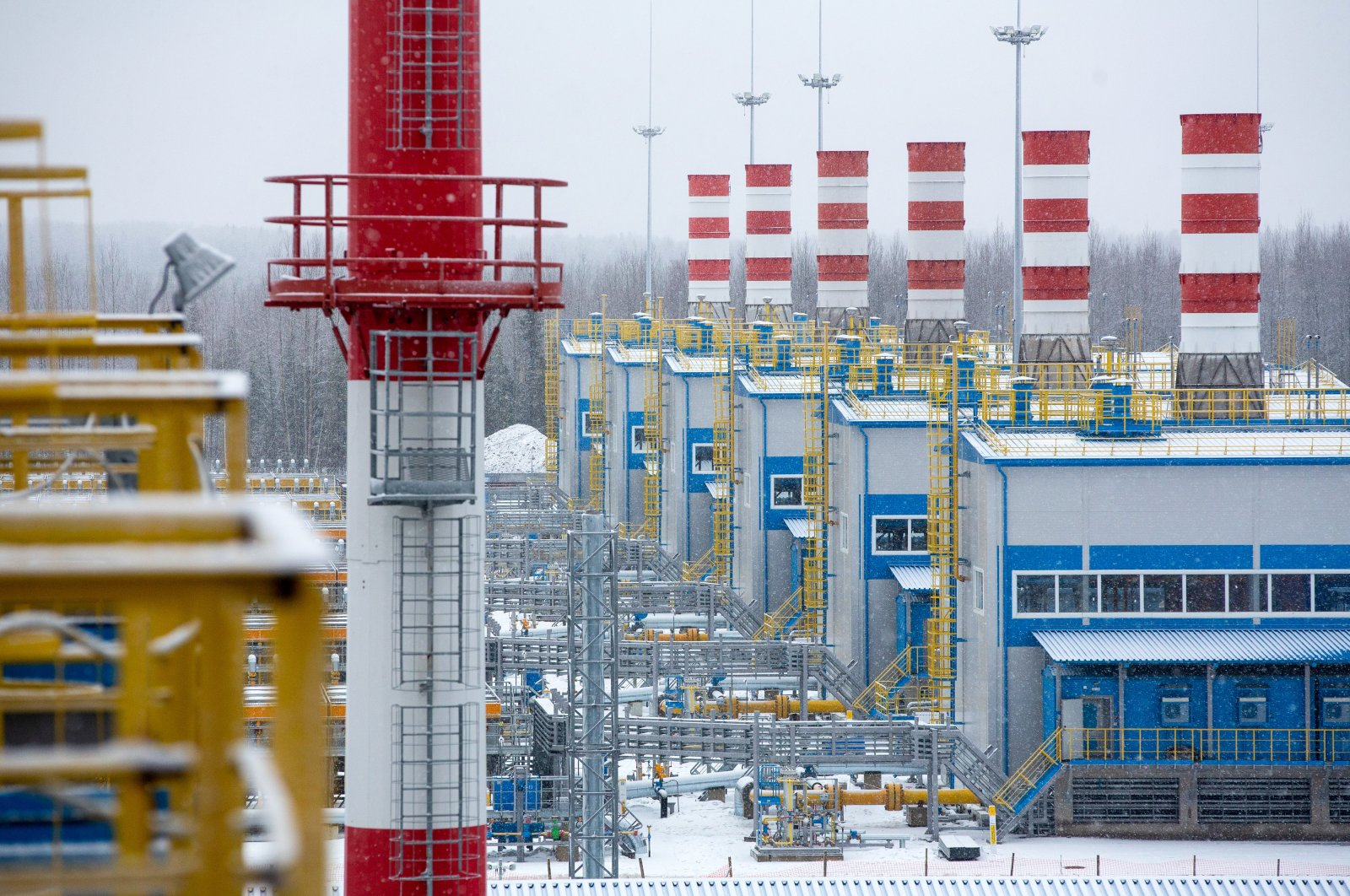 Compressor complexes at the Gazprom PJSC Slavyanskaya compressor station, the starting point of the Nord Stream 2 gas pipeline, in Ust-Luga, Russia, Jan. 28, 2021. (Photo by Getty Images)