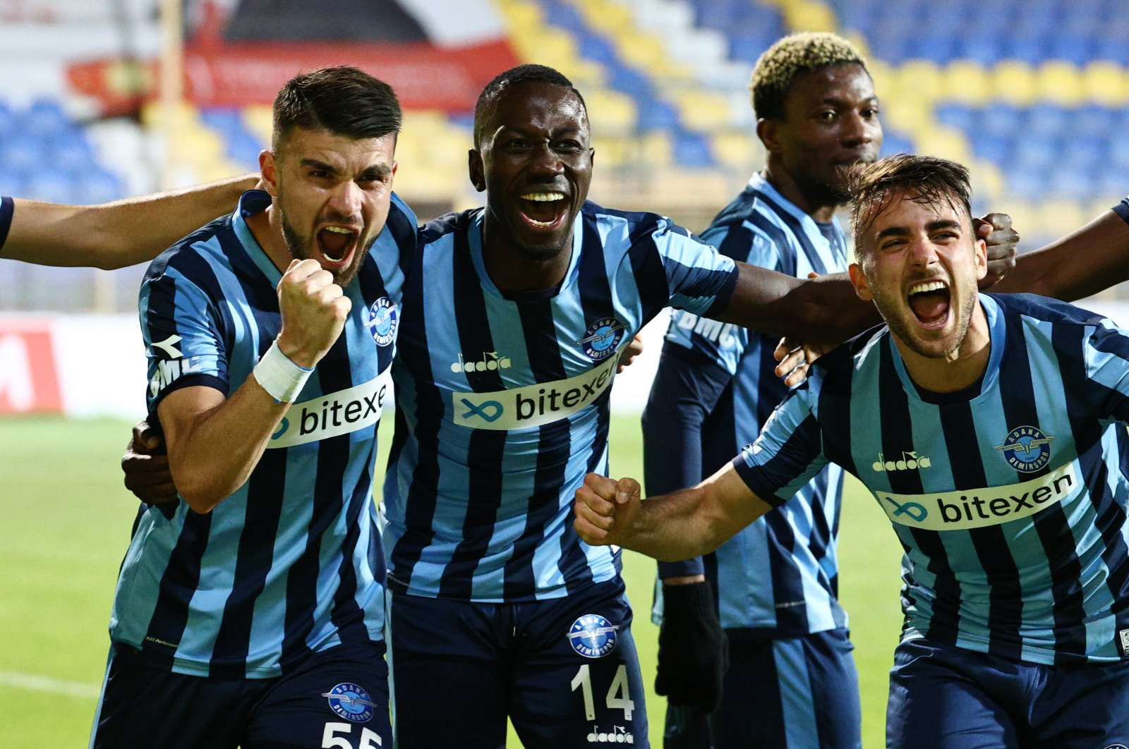 Adana Demirspor players celebrate a goal against Menemenspor at the Menemen İlçe Stadium, Izmir, Turkey, May 9, 2021.