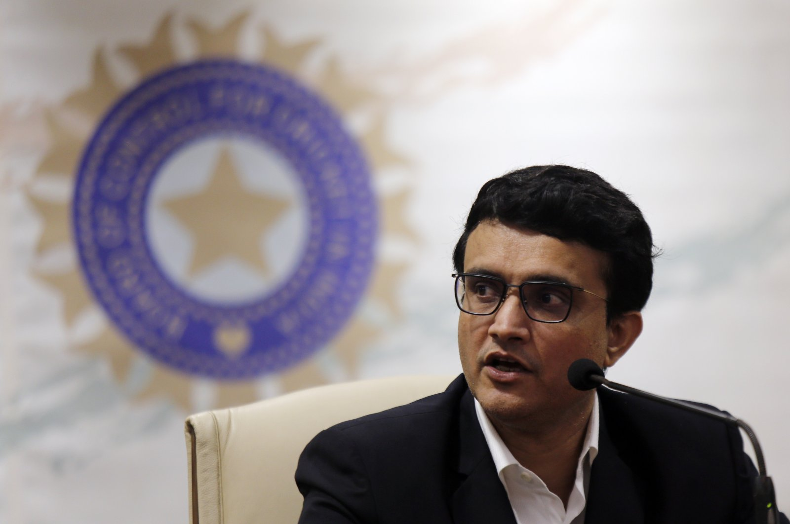 President of the Board of Control for Cricket in India (BCCI) Sourav Ganguly speaks at a press conference in Mumbai, India, Oct. 23, 2019. (AP Photo)