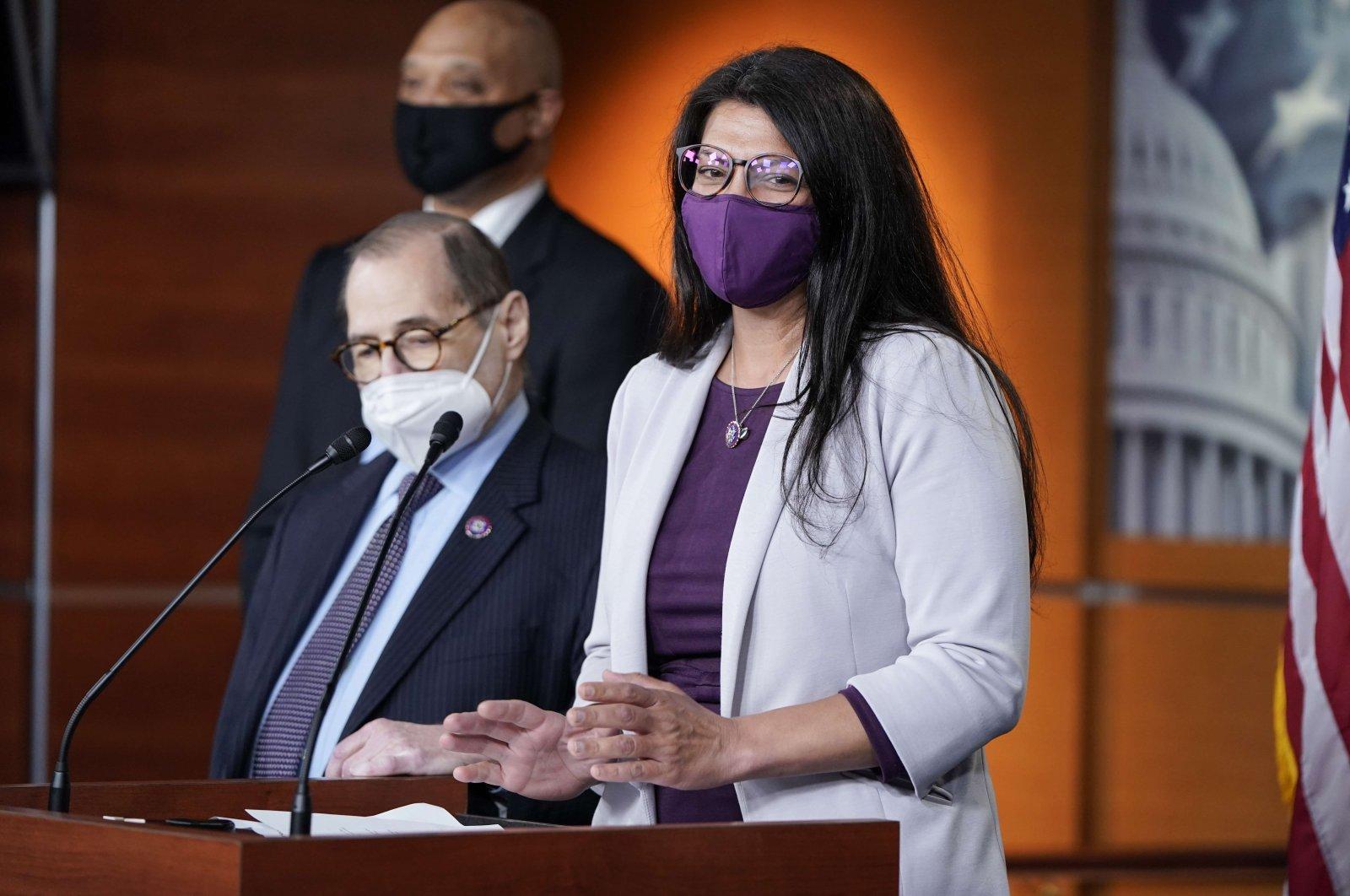 Rep. Rashida Tlaib (R) speaks during a news conference, April 21, 2021 in Washington, DC, U.S. (Joshua Roberts/Getty Images/AFP)