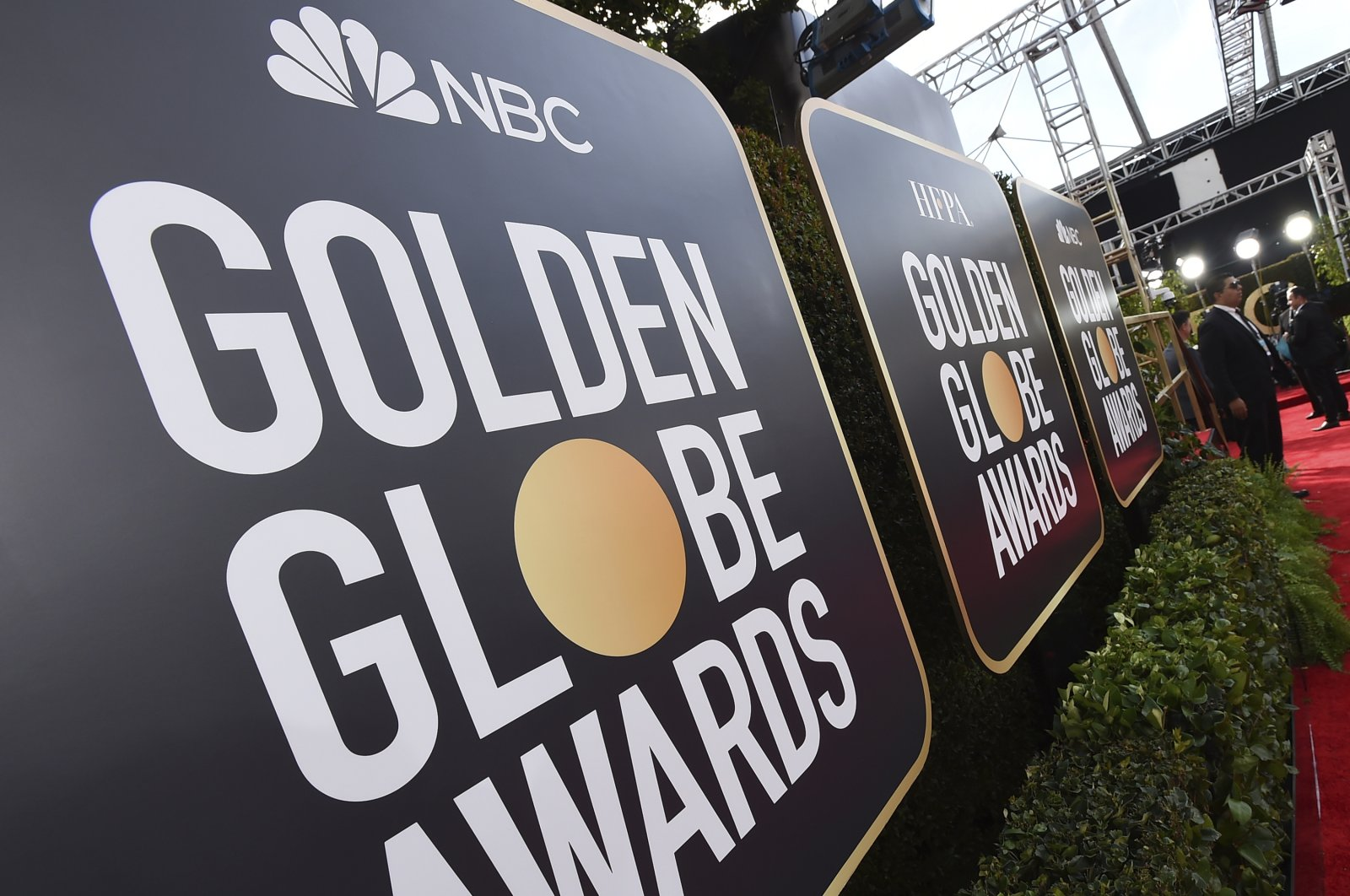Signage promoting the 77th annual Golden Globe Awards and NBC in Beverly Hills, California, U.S., Jan. 5, 2020. (AP Photo)