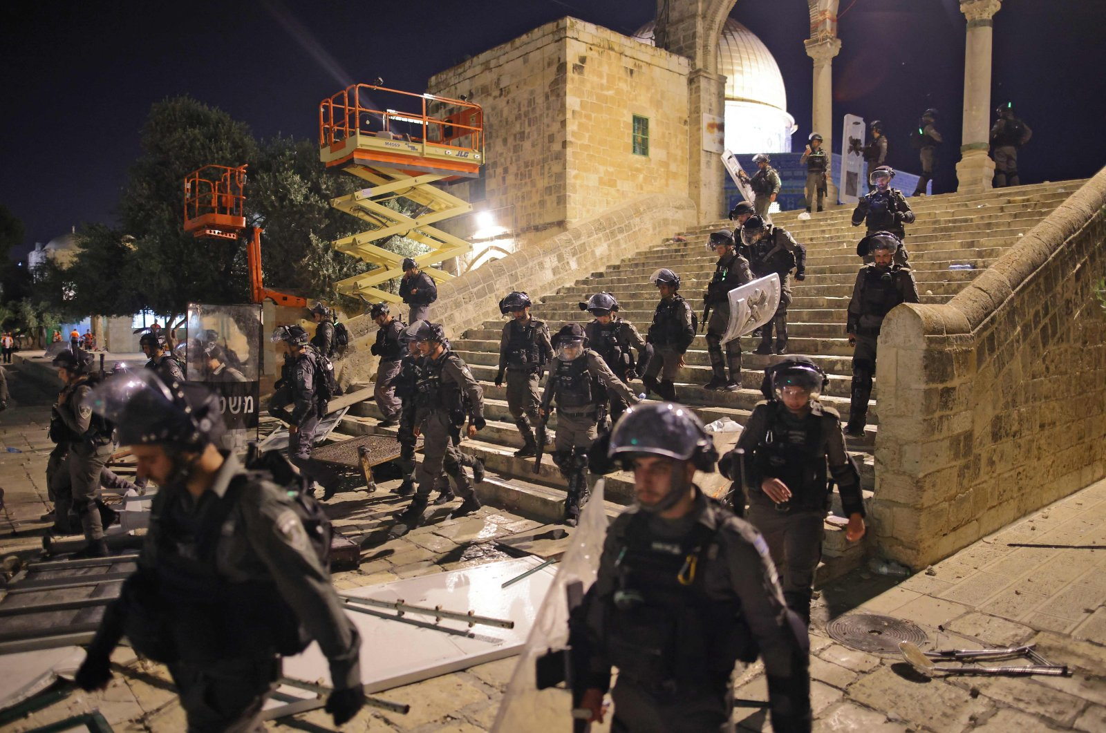 Israeli security forces deploy in Jerusalem's Al-Aqsa Mosque during their attack on worshippers at the mosque, East Jerusalem, occupied Palestine, May 10, 2021. (AFP Photo)