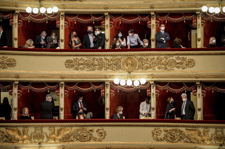 People take their seats at the La Scala opera house, Milan, Italy, May 10, 2021. (AP Photo)