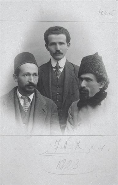 Yitzhak Ben-Zvi (L), David Ben-Gurion (C) and Israel Shochat.