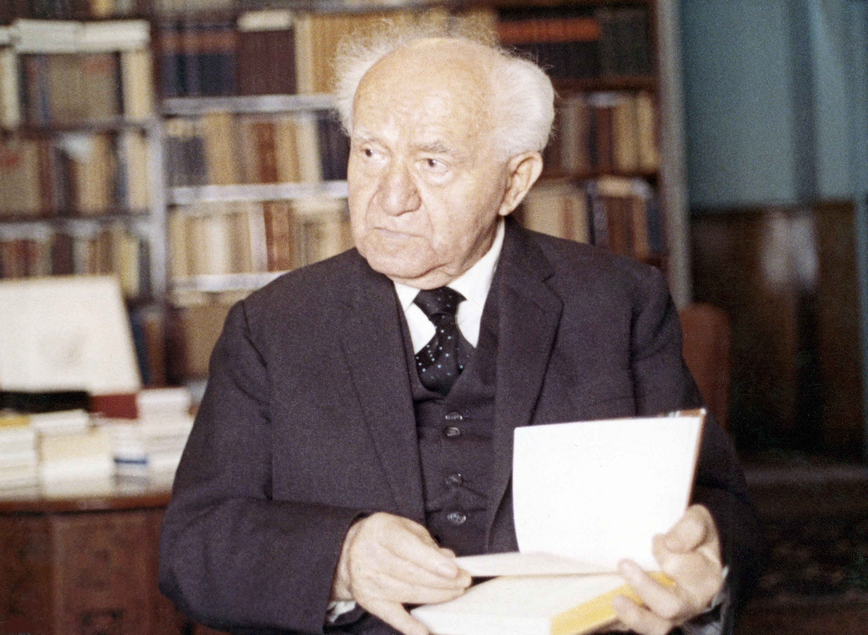 David Ben-Gurion, the founder and first prime minister of modern Israel, in his home library in Tel Aviv, Israel, on Oct. 16, 1970. (AP Photo)