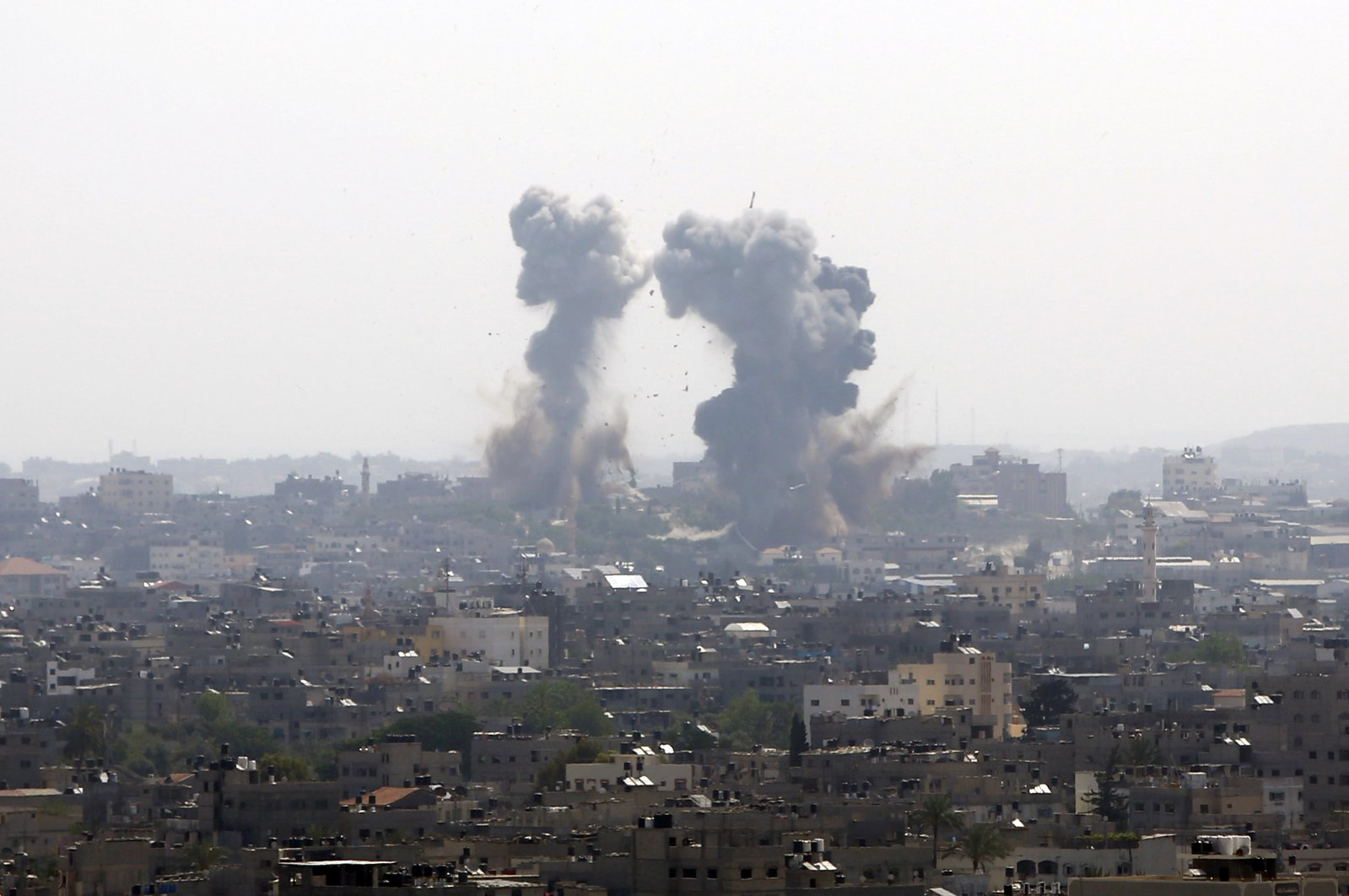 Smoke rises after an Israeli forces strike in Gaza City, Tuesday, May 11, 2021. (AP Photo)