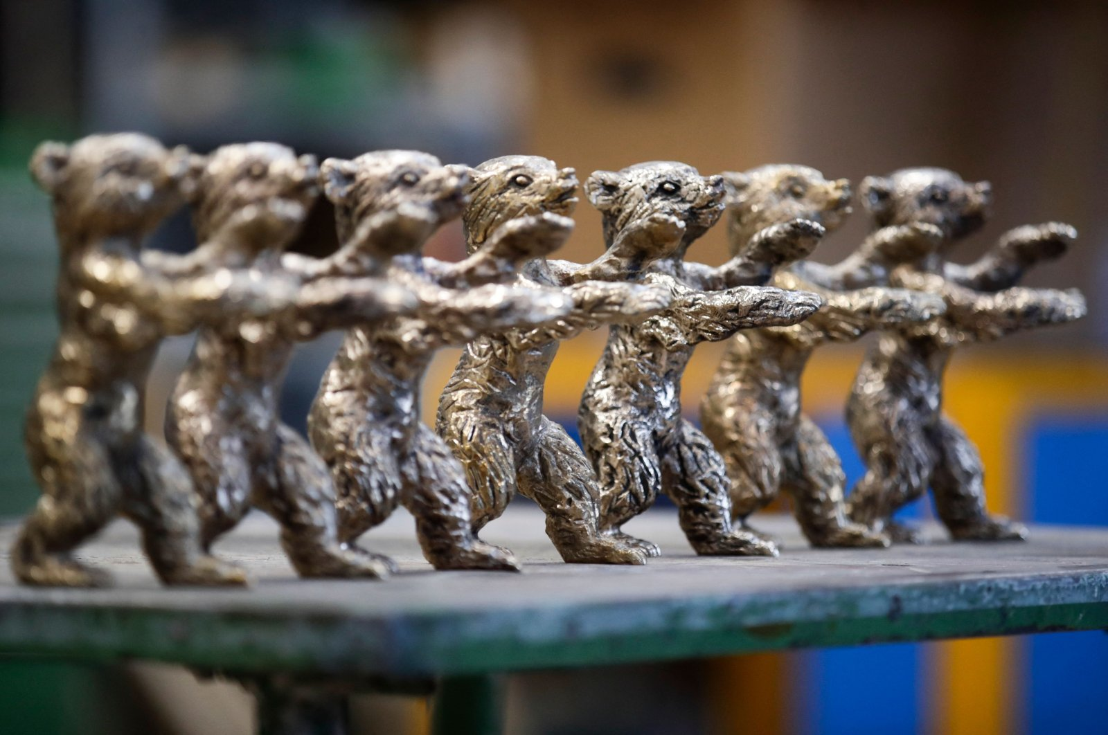 Bear trophies for the upcoming 71st Berlinale film festival are displayed during a media tour at the Noack foundry in Berlin, Germany, Feb. 17, 2021. (AFP Photo)