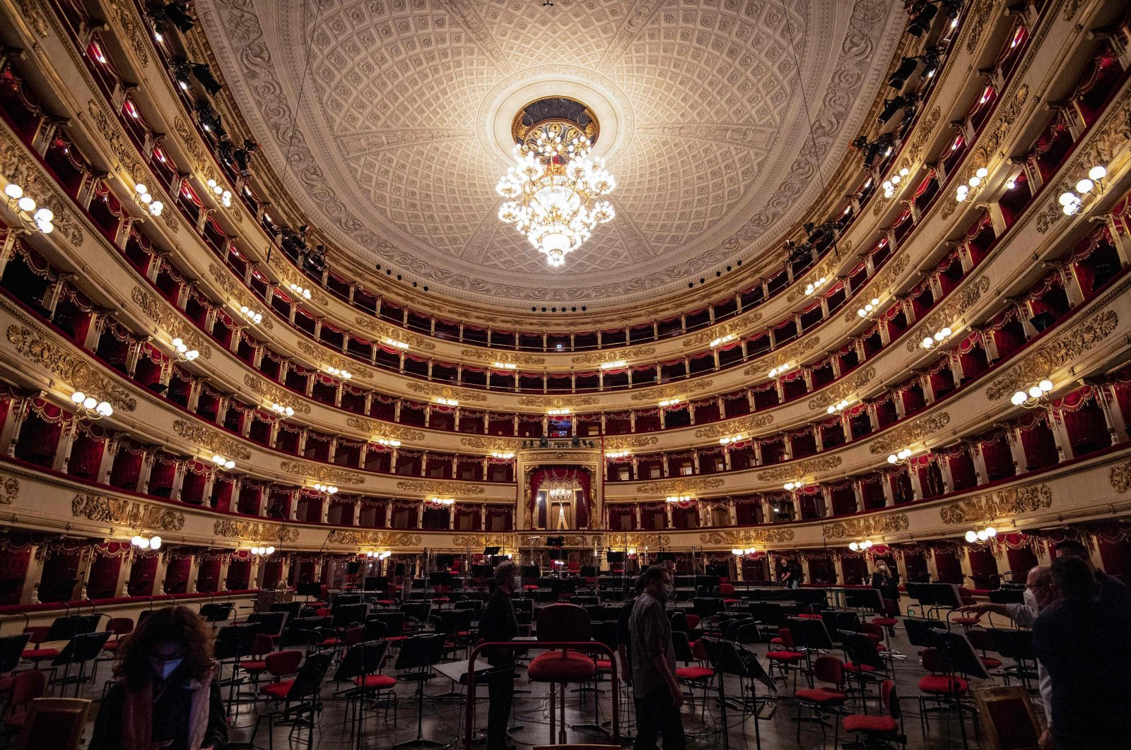 A general view shows the Scala Opera House prior to a rehearsal in Milan, Italy, May 8, 2021.  (AFP Photo)