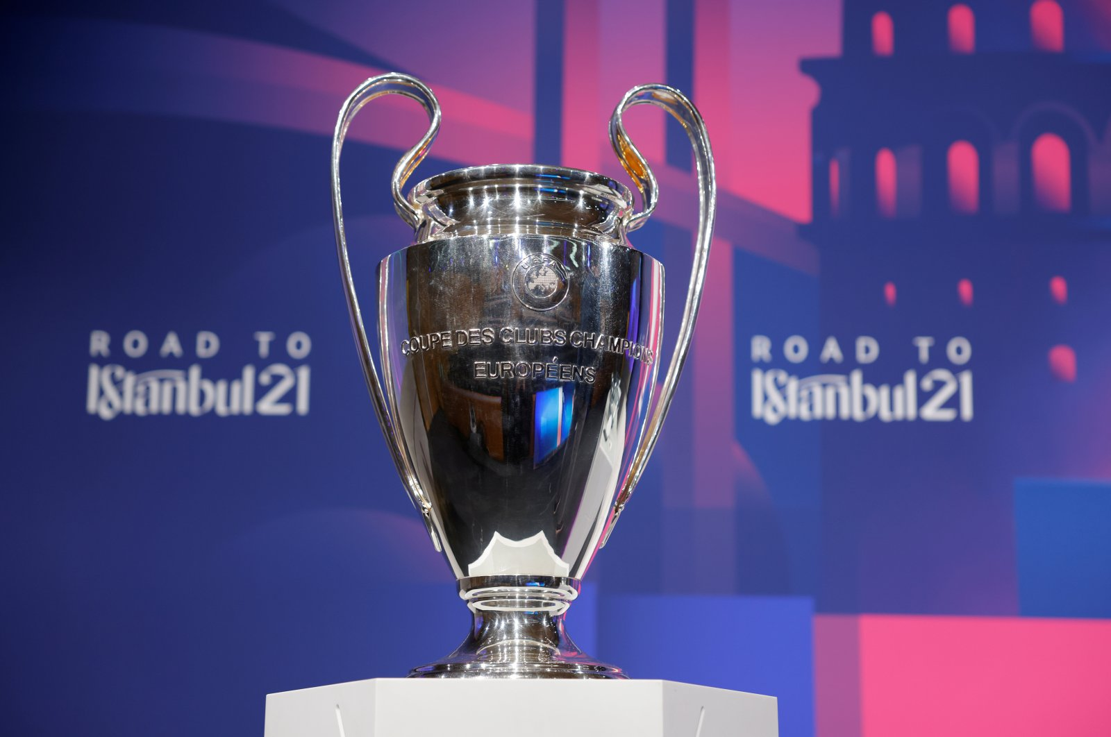 The Champions League trophy on display at UEFA headquarters in Nyon, Switzerland, March 19, 2021. (Reuters Photo)