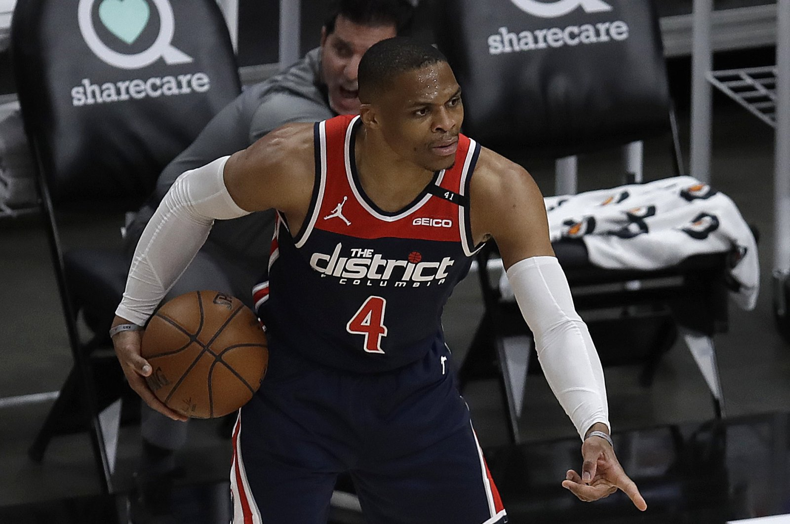 Washington Wizards' Russell Westbrook gestures during the first half of an NBA basketball game against the Atlanta Hawks, Monday, May 10, 2021, in Atlanta. (AP Photo)