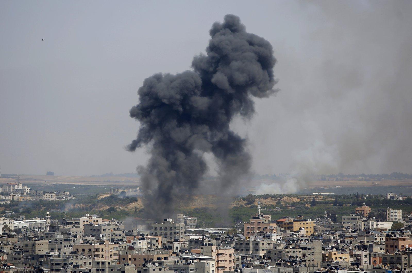 Smoke rises after an Israeli airstrike in Gaza City, the Gaza strip, Palestine, May 11, 2021. (AP Photo)