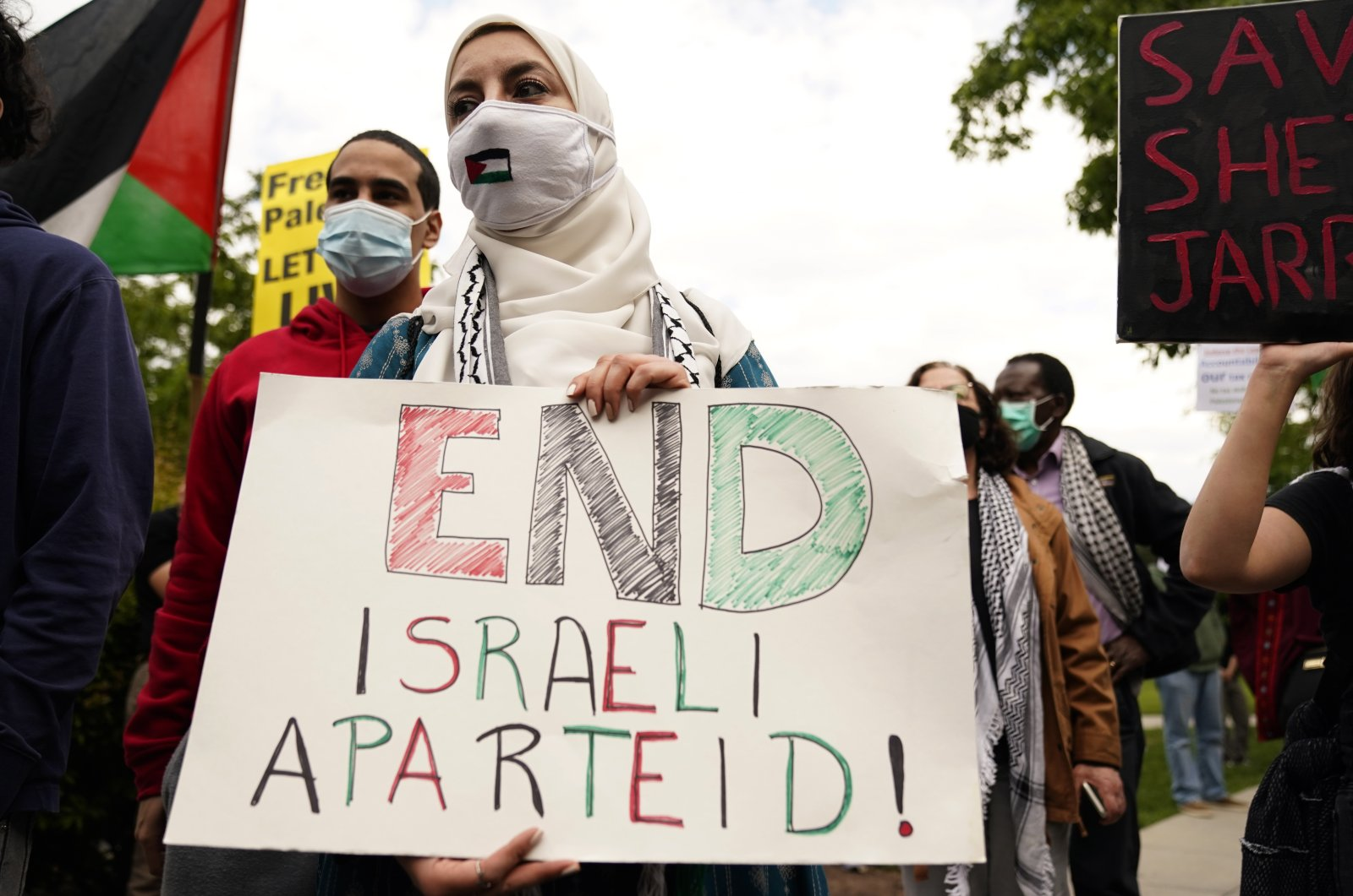 Pro-Palestine protesters take part in a demonstration outside the US State Department in Washington, DC, USA, 11 May 2021. (EPA Photo)