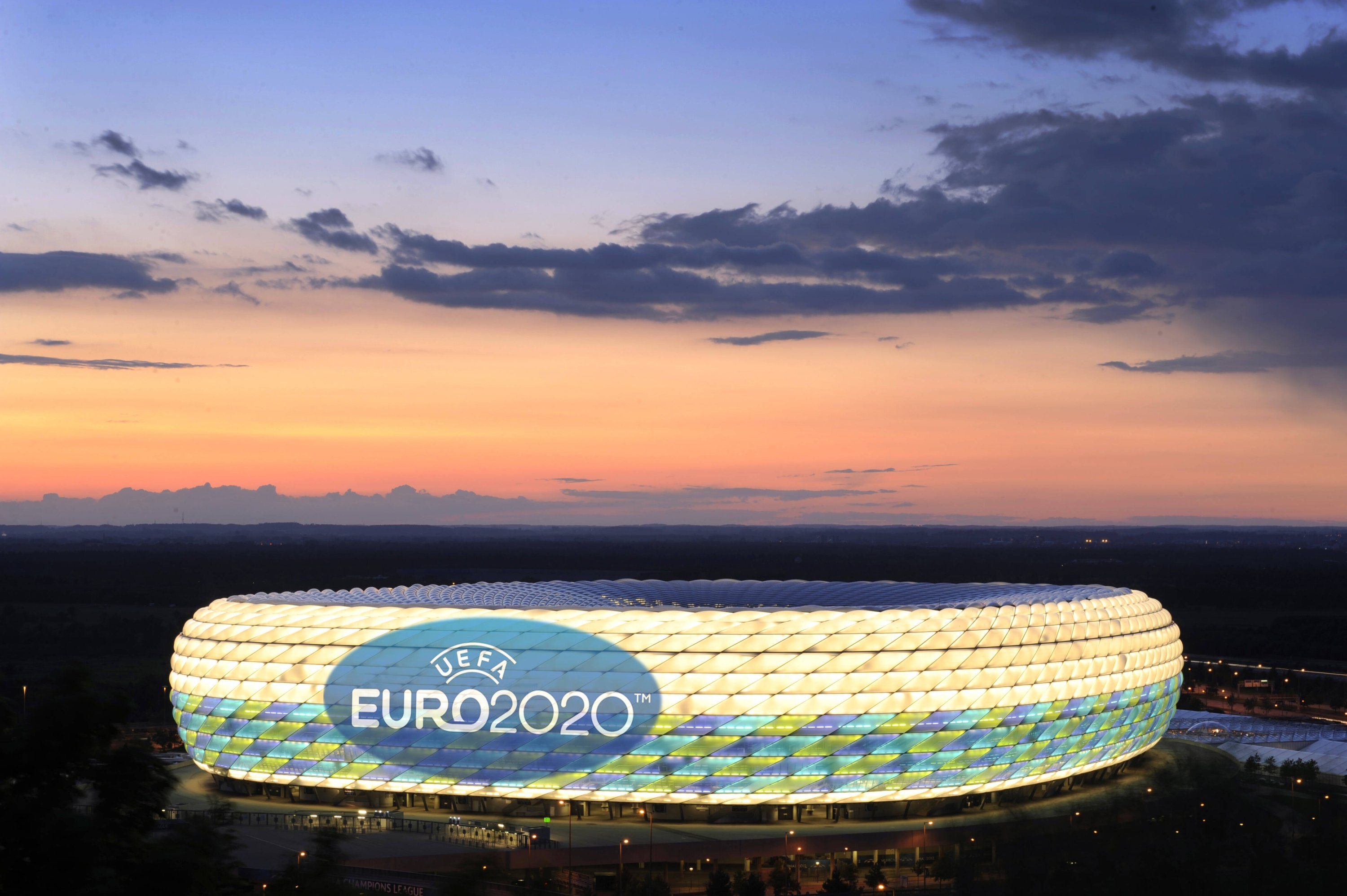 Bayern Munich's home Allianz Arena, a venue for the Euro 2020, displays the event's logo in this undated photo, Munich, Germany.
