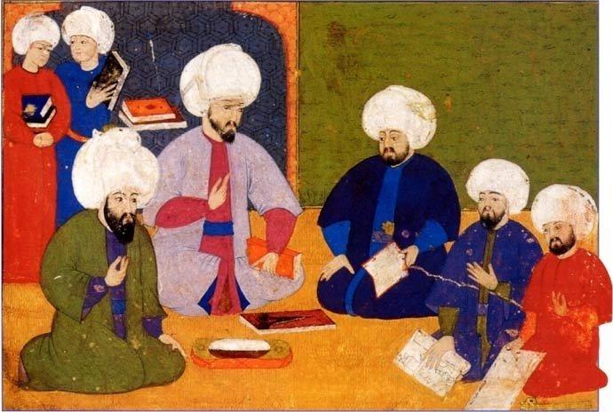 The miniature painting depicts the debate of old manuscripts by scholars Şemseddin Ahmet Karabaği, Lokman, Ilyas Katib and miniaturists Nakkaş Osman and Nakkaş Ali.