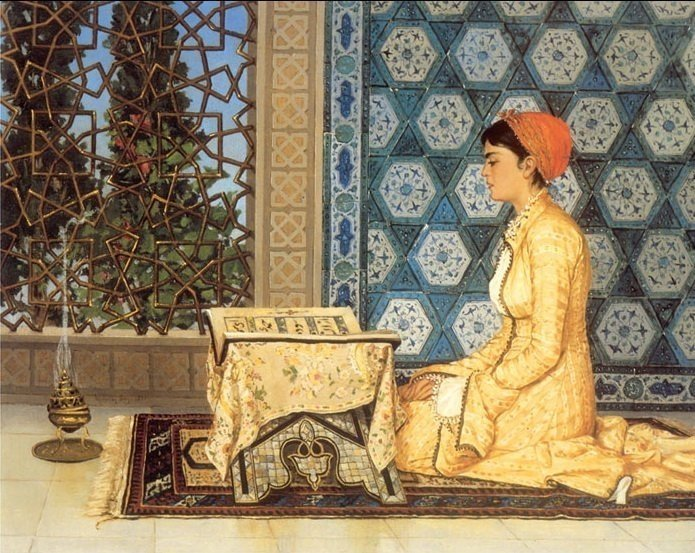 "Osman Hamdi Bey's ""Girl Reciting Quran' painting."