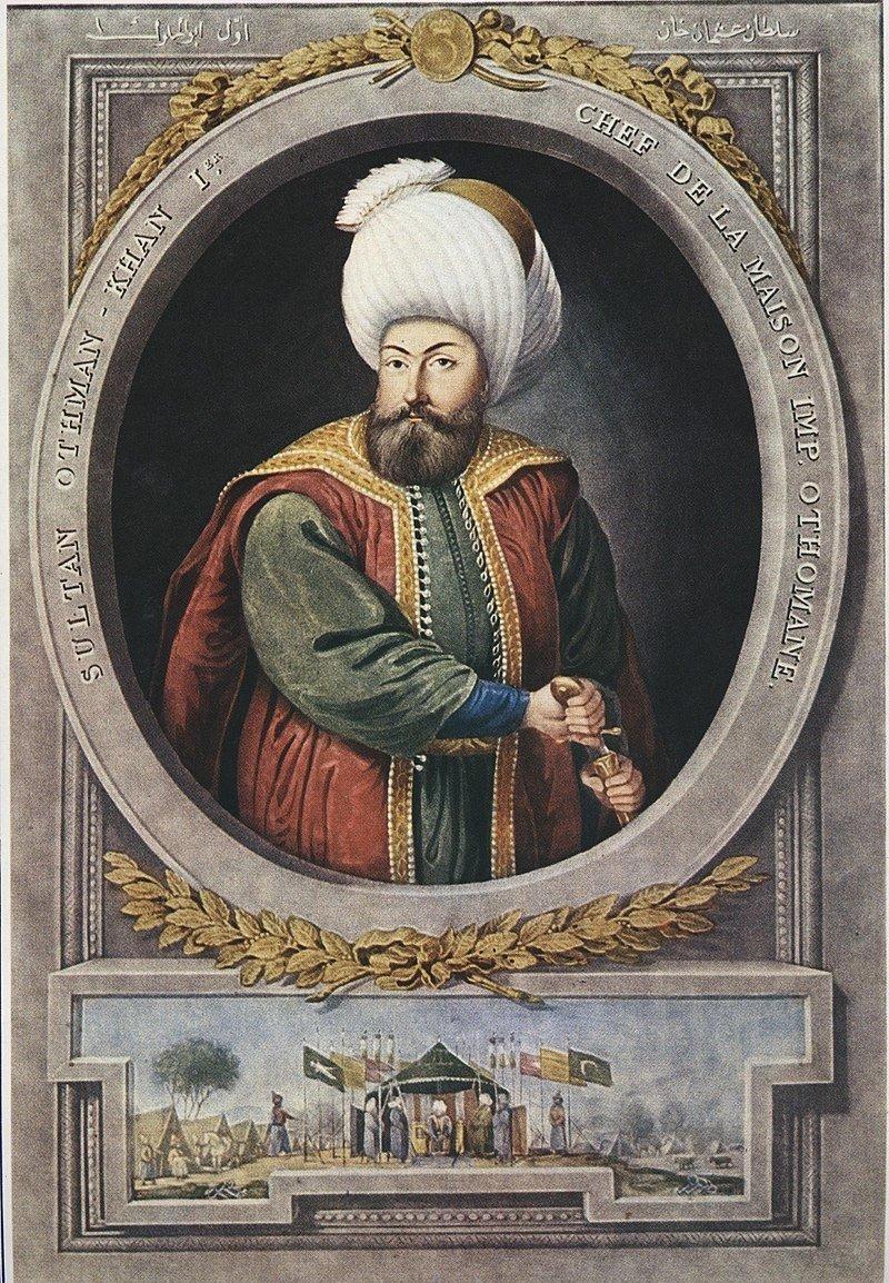 A portrait of Osman I, the founder of the Ottoman Empire, by the Greek–Ottoman court painter Konstantin Kapıdağlı.