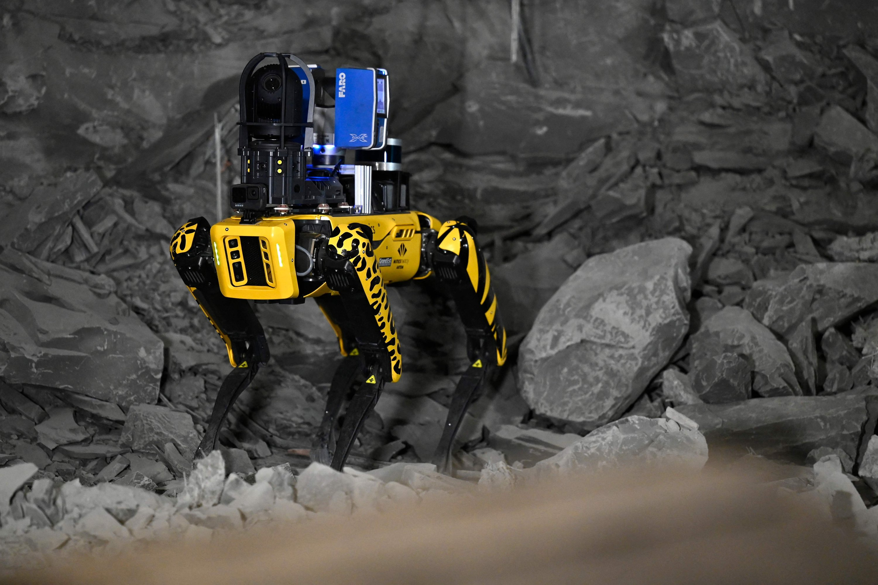 Robot-dog Scar is pictured in the underground laboratory at Bure, near Nancy, eastern France, May 11, 2021. (AFP)