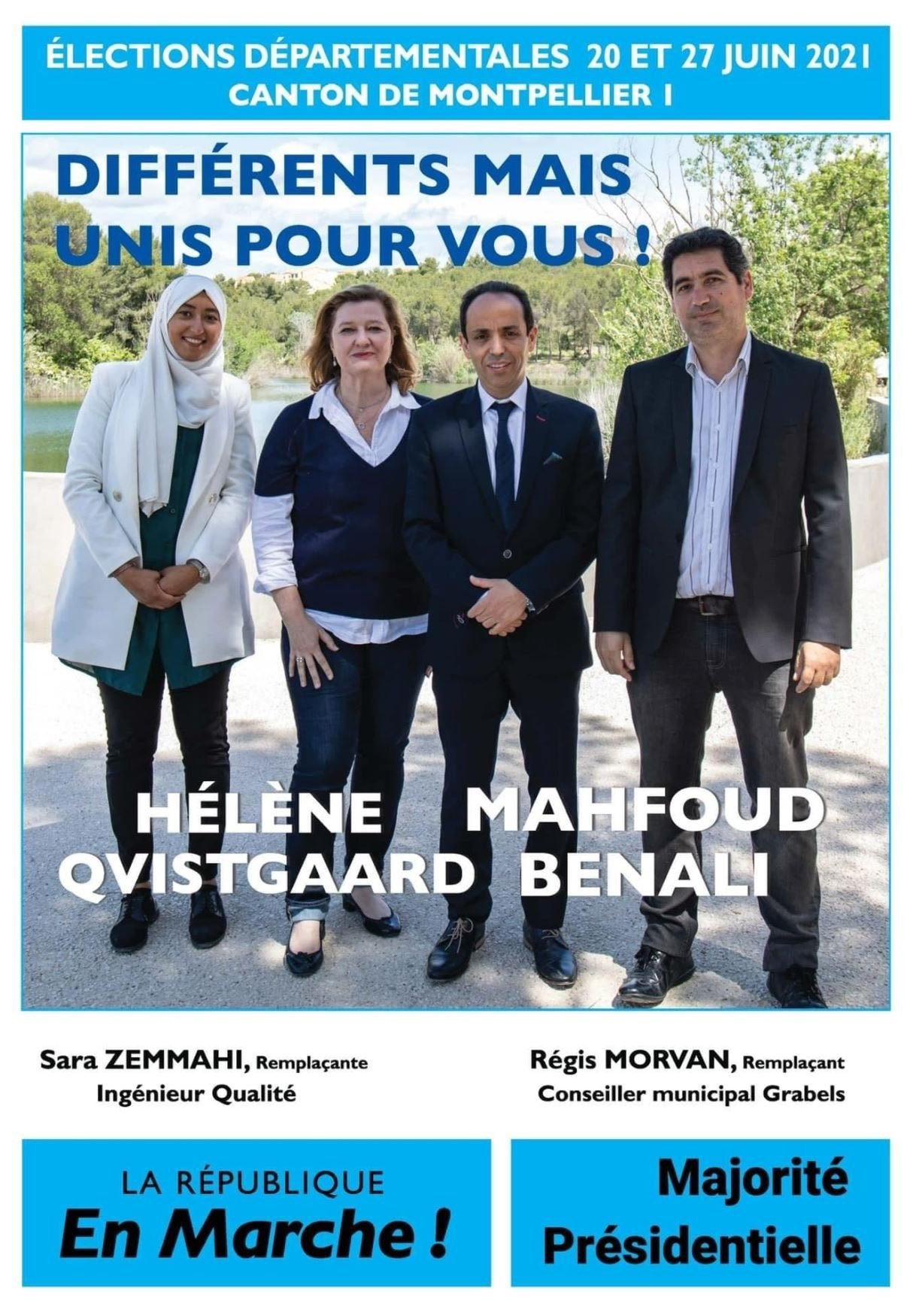 """Sara Zemmahi (L) wearing a headscarf on a local election poster that reads """"Different But United For You."""""""