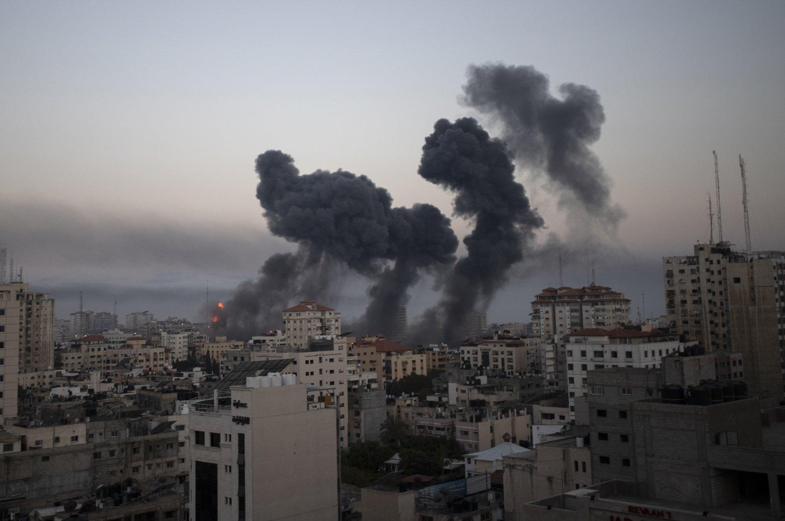 Smoke rises after Israeli airstrikes on Gaza City, the Gaza Strip, Palestine, Wednesday, May 12, 2021.(AP Photo)