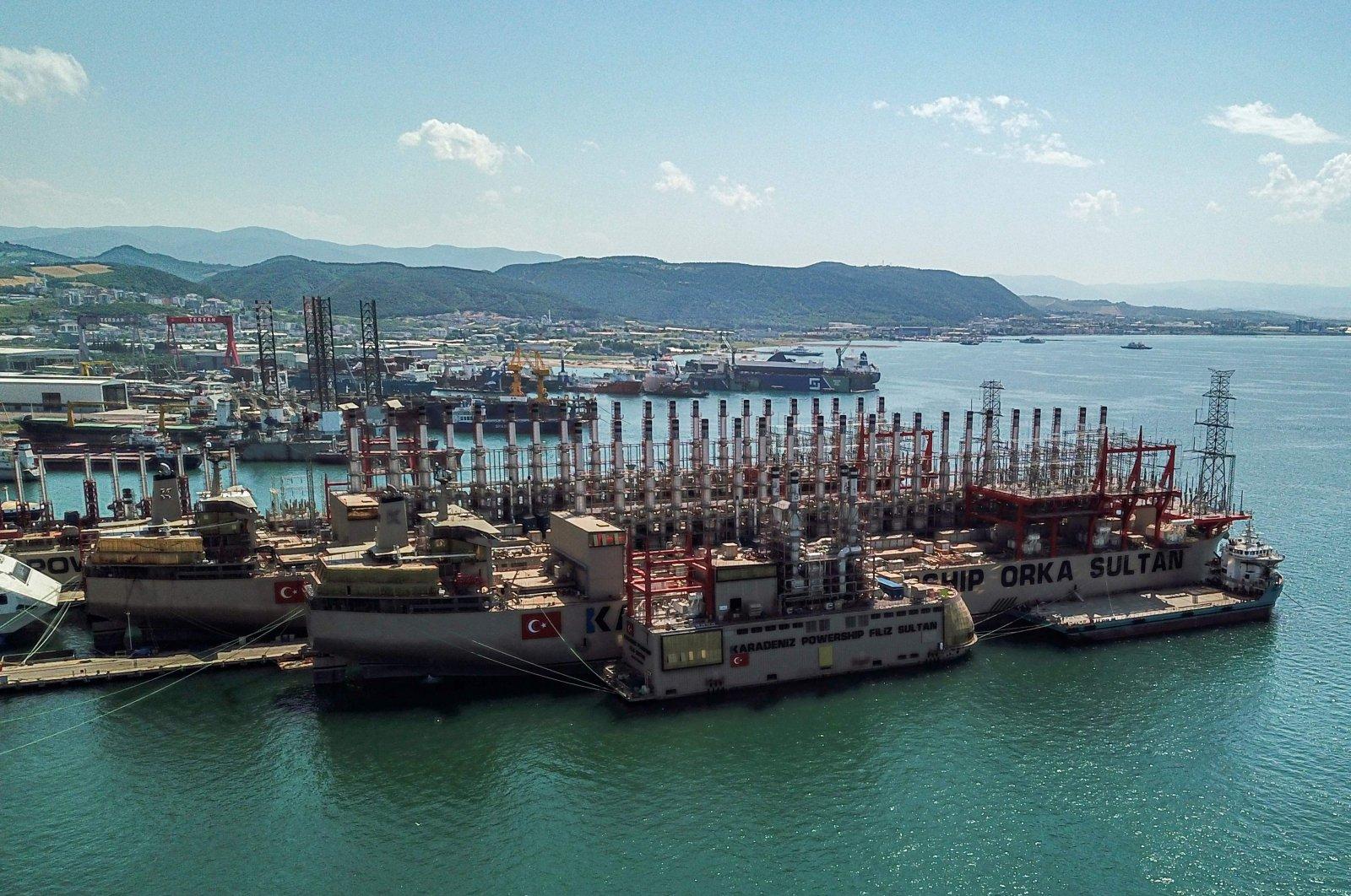 An aerial view shows Karadeniz Holding's powerships docked in a shipyard at Altınova district in Yalova, northwestern Turkey, June 16, 2020. (AFP Photo)
