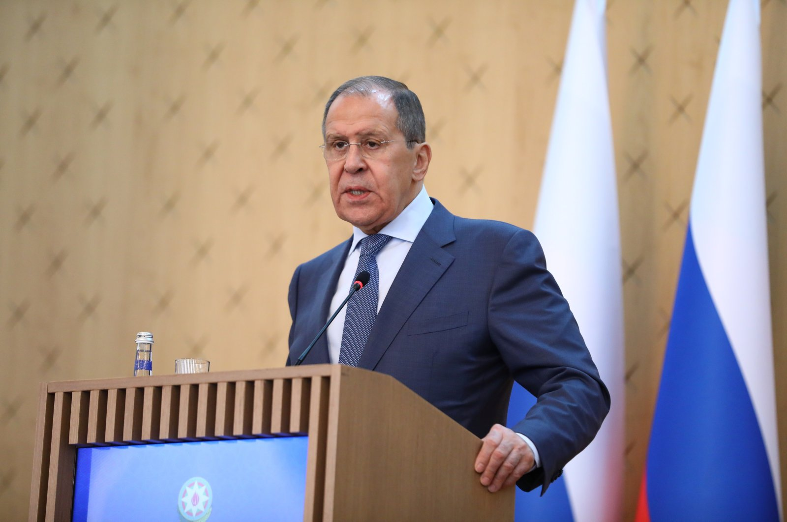 Russia's Foreign Minister Sergey Lavrov speaks during a joint news conference with Azerbaijan's Foreign Minister Jeyhun Bayramov following their meeting in Baku, Azerbaijan, May 11, 2021. (Reuters Photo)