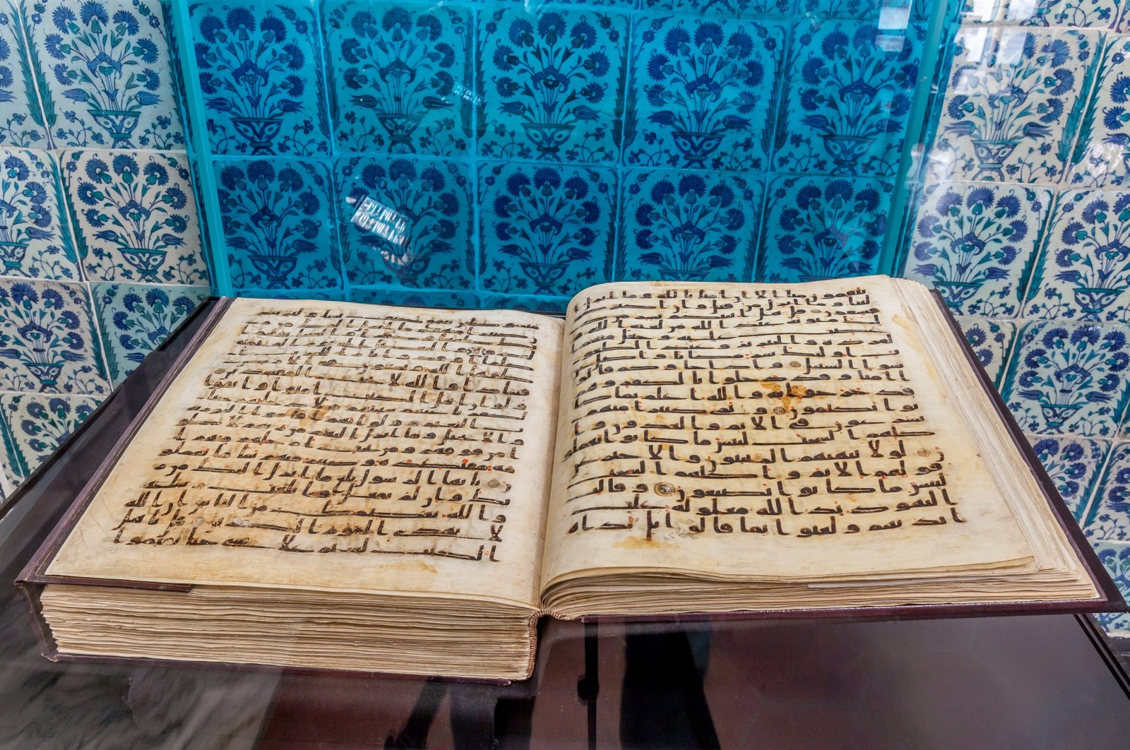 The Quran of the third caliph Uthman ibn Affan stored at the Topkapı Palace's Shrine of the Sacred Relics, Istanbul, Turkey, July 17, 2014. (Photo by Recai Kömür)