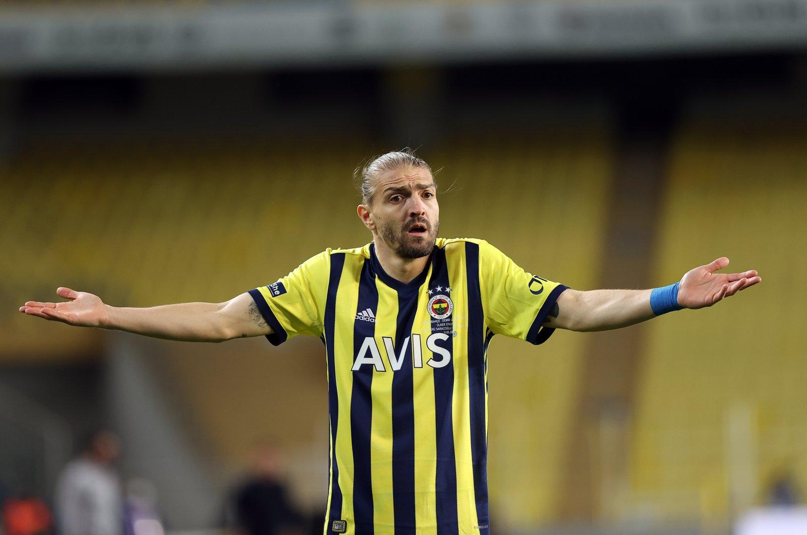 Fenerbahçe defender Caner Erkin reacts during a Süper Lig match against Sivasspor, Sivas, central Turkey, May 11, 2021. (AA Photo)