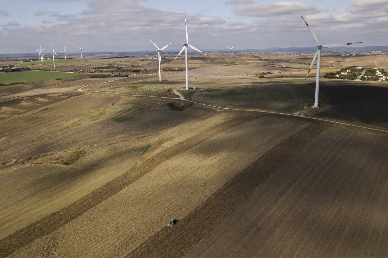 Wind turbines are seen in the countryside of Istanbul, Turkey, Oct. 22, 2020. (EPA Photo)