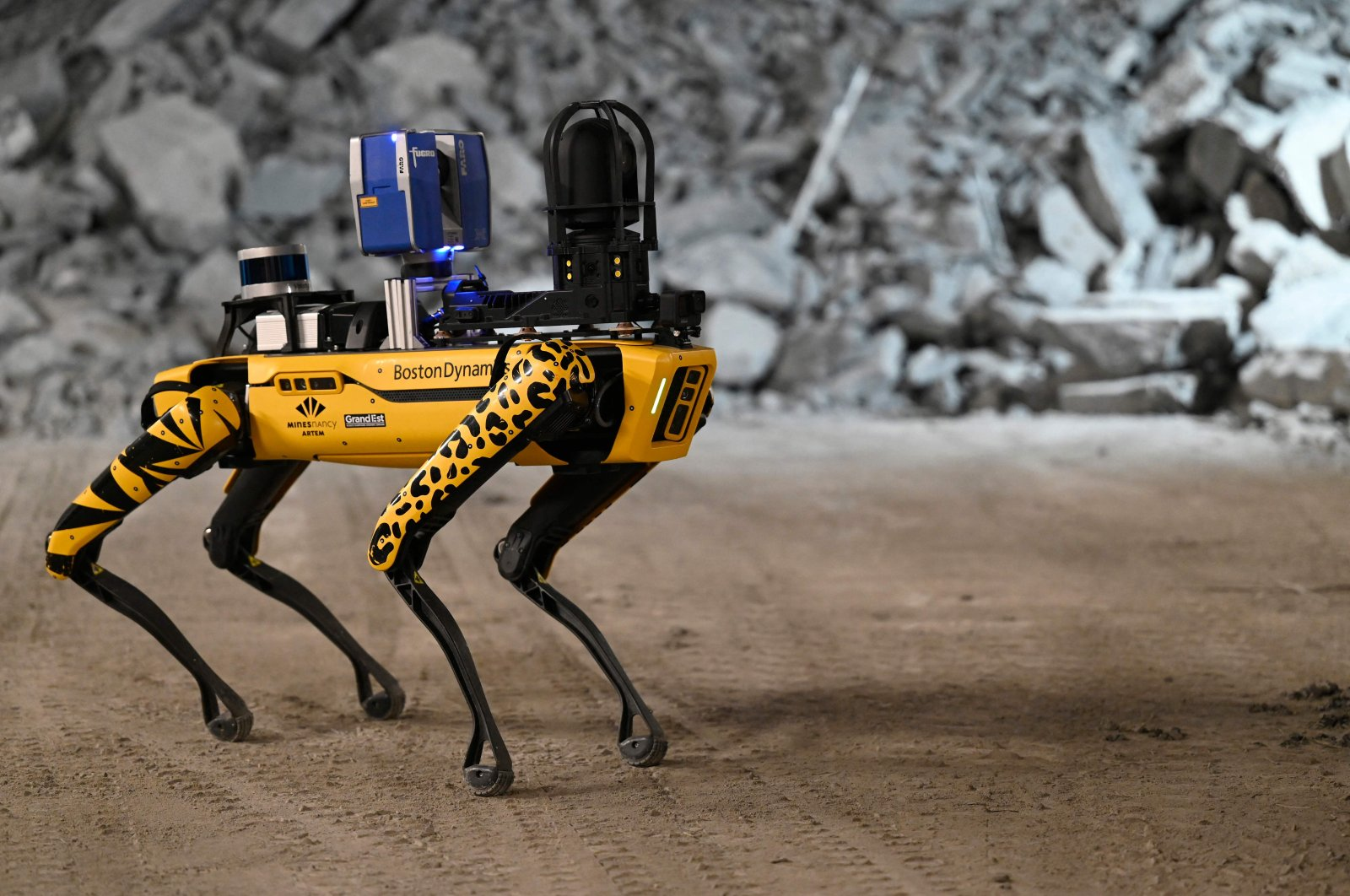 Robot-dog Scar is being trained in the underground laboratory at Bure, near Nancy, eastern France, May 11, 2021. (AFP)