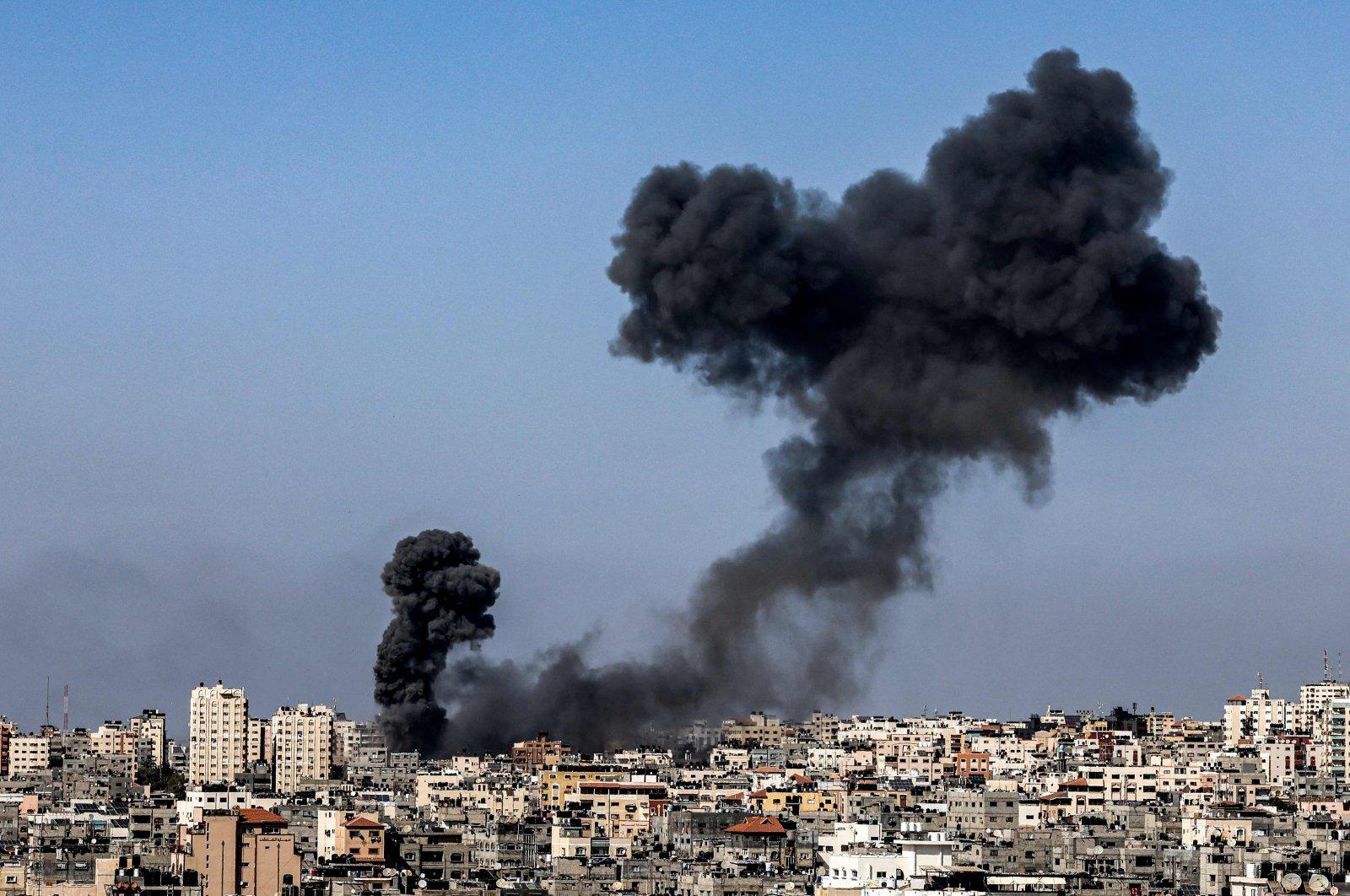 Smoke billows following Israeli airstrikes on Gaza City, Palestine on May 12, 2021. (AFP Photo)