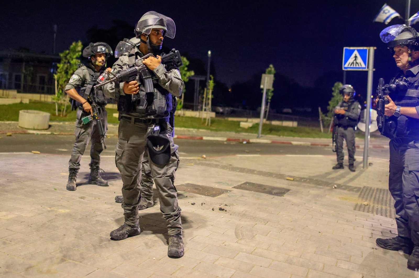 Israeli security forces are seen in a street in Lod near Tel Aviv, Israel, on May 12, 2021. (AFP Photo)