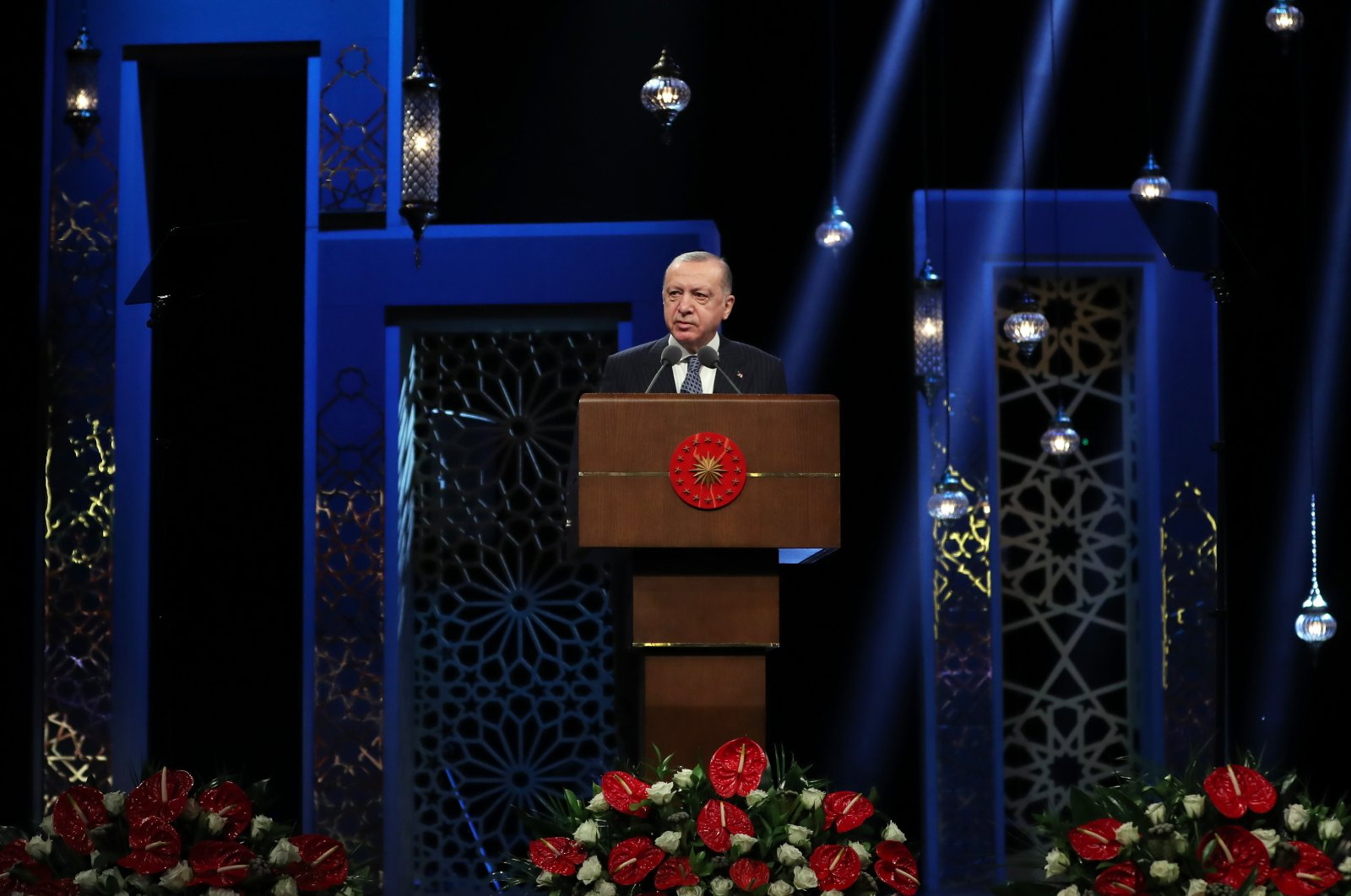 President Recep Tayyip Erdoğan speaks during a Quran reading contest organized by state-run broadcaster TRT in Ankara, Turkey, on May 12, 2021 (AA Photo)