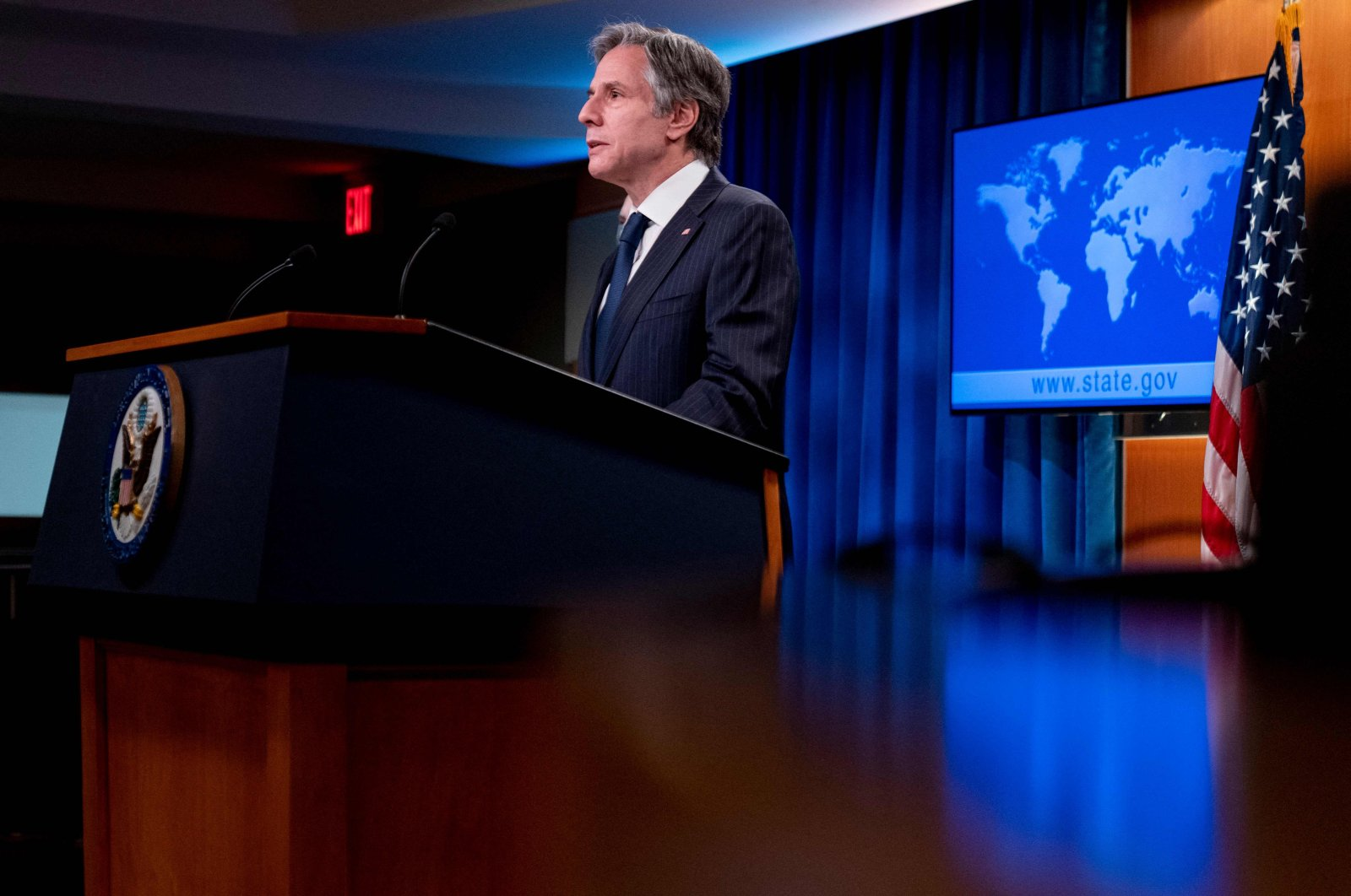 U.S. Secretary of State Antony Blinken speaks at a news conference to announce the annual International Religious Freedom Report at the State Department in Washington, D.C., U.S., on May 12, 2021. (AFP Photo)