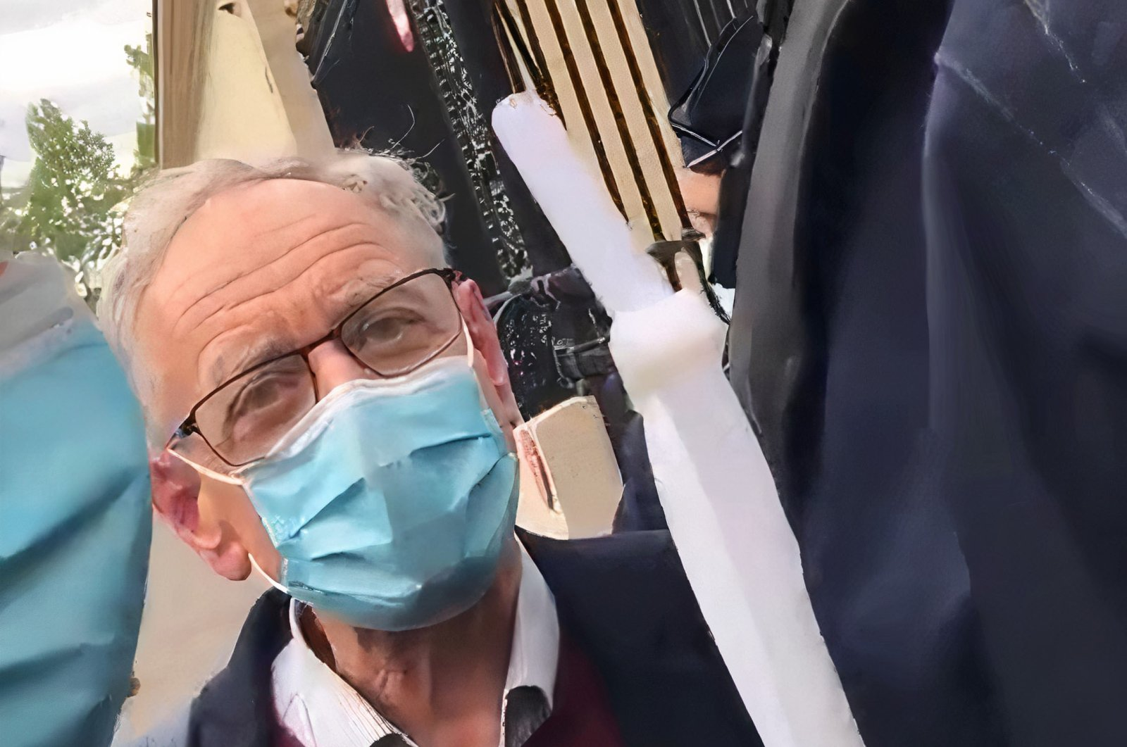President of L'Association France Palestine Solidarité Bertrand Heilbronn pictured during his arrest outside the French Foreign Ministry, Paris, France, May 12, 2021. (Twitter @AFPSOfficiel)